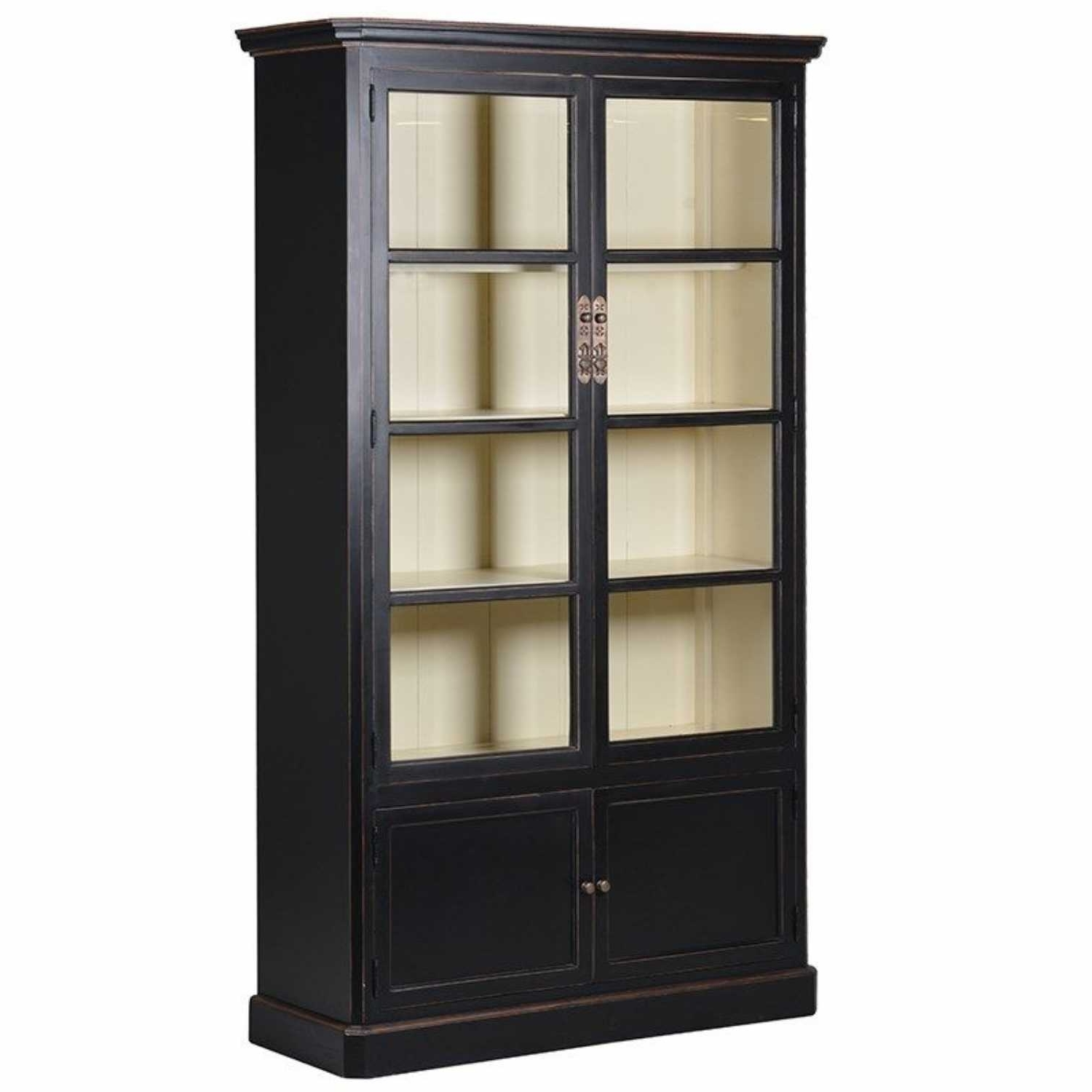 Famous Glazed Bookcases Within Chinese Shanxi Chinese Black Lacquered Large 2 Door Glazed Bookcase (View 5 of 15)