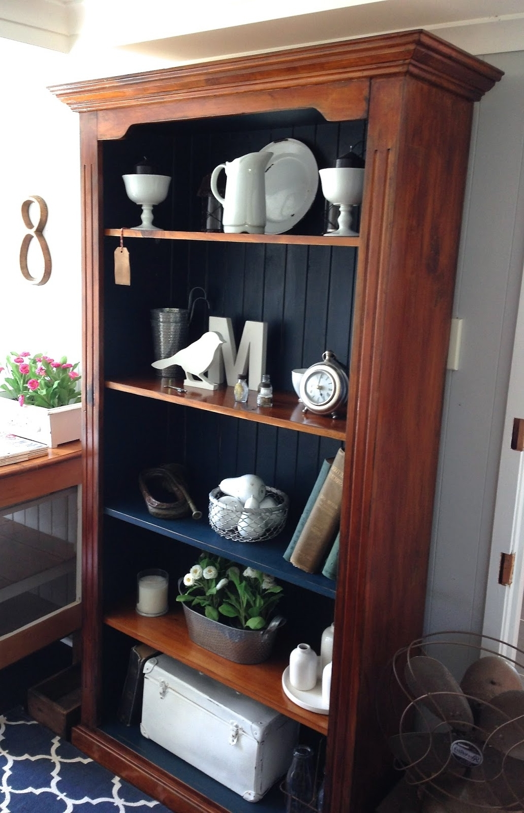 Famous Hand Painted Bookcases With Timber Bookcase Painted In Denim Blue Chalk Paint (View 2 of 15)