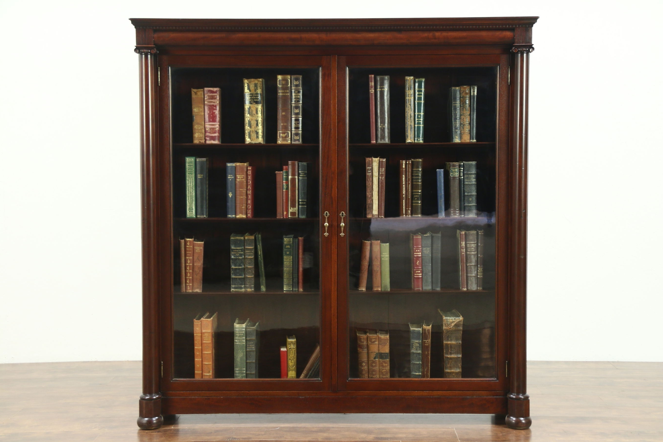 Famous Mahogany Bookcases Throughout Empire 1900 Antique Mahogany Classical Library Bookcase, Wavy (View 12 of 15)