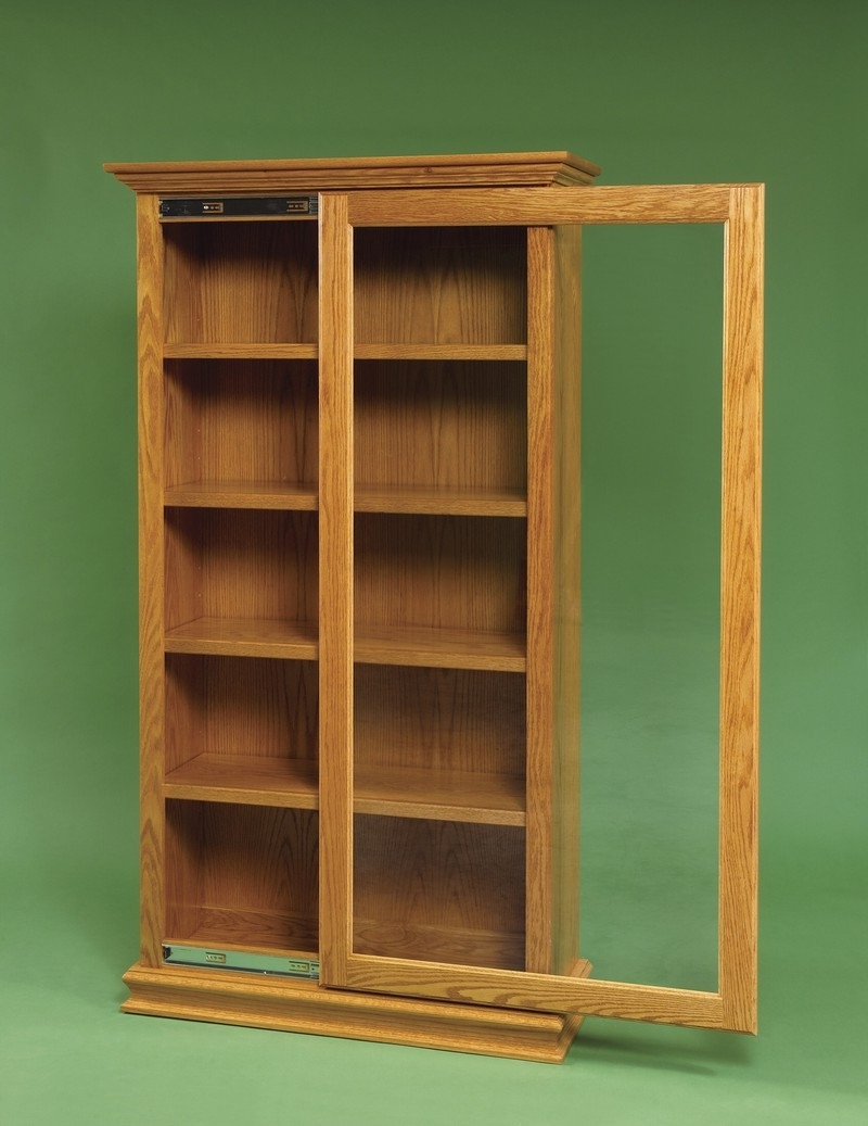 Famous Mission Bookcases In Mission Bookcase Amish Sliding Door Large Pid 3064 Oak With Glass (View 5 of 15)
