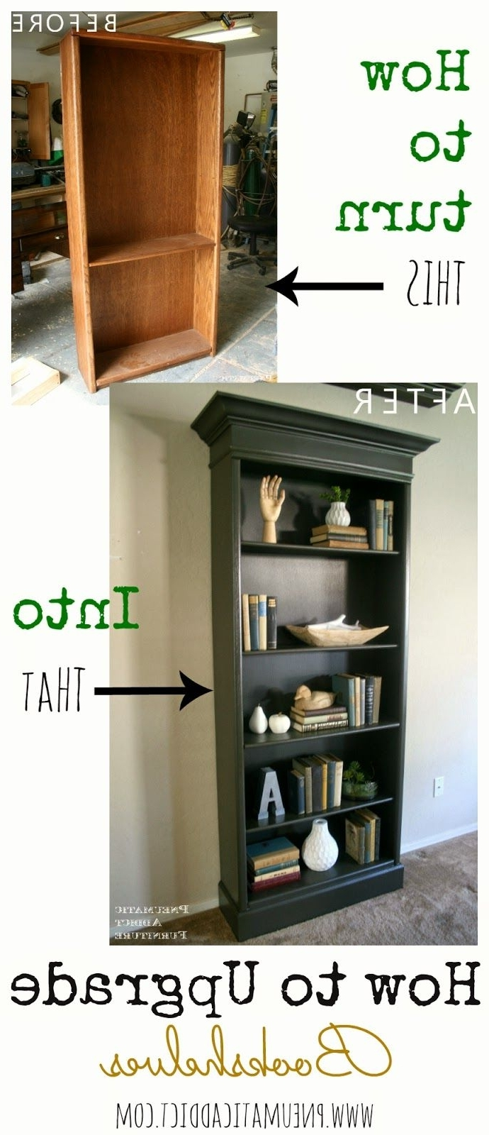 Famous Painted Oak Bookcases With Regard To How To Upgrade An Ugly Oak Bookshelf To Look Like A Pottery Barn (View 6 of 15)