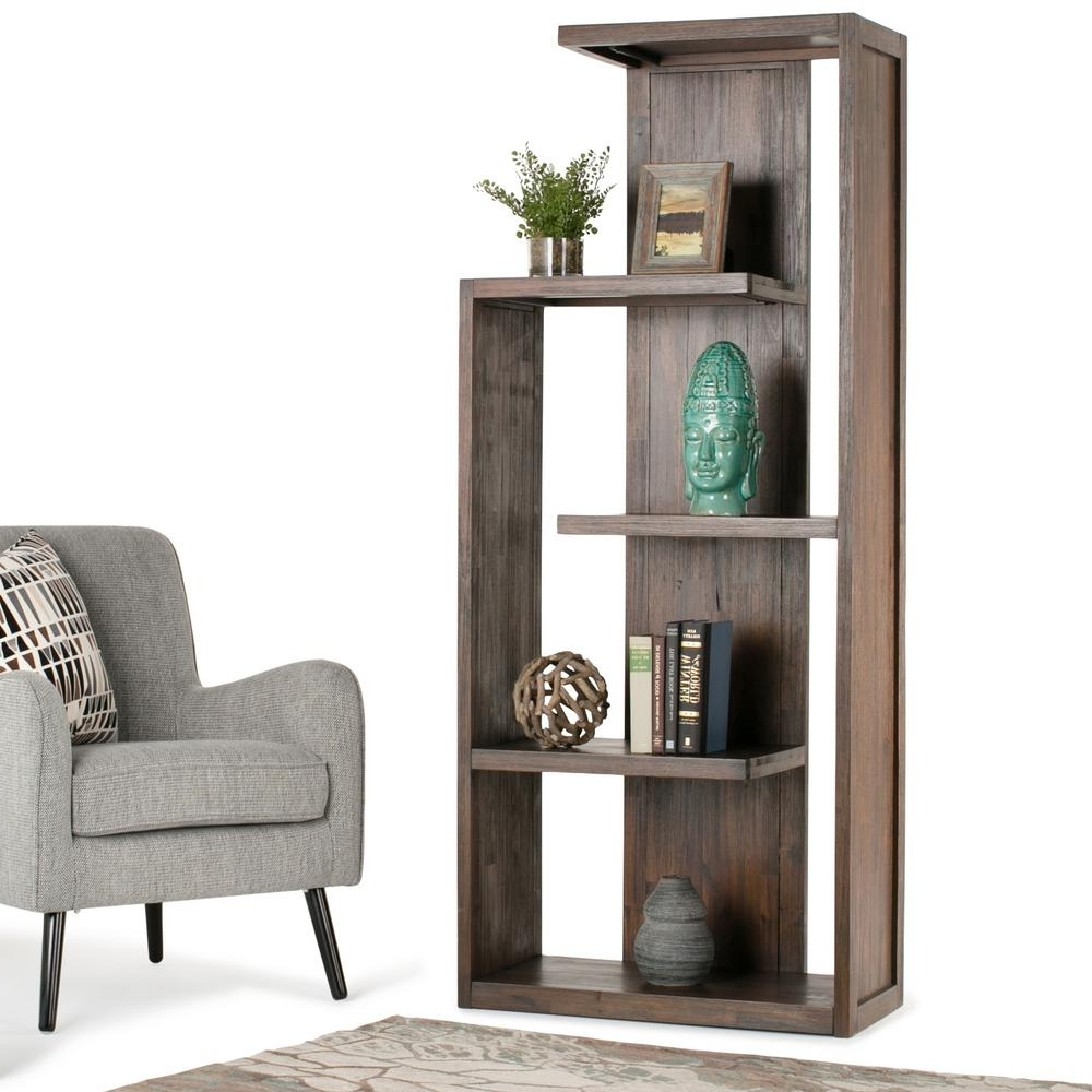 Famous Simpli Home Monroe Distressed Charcoal Brown Open Bookcase Axcmon Intended For Distressed Wood Bookcases (View 10 of 15)