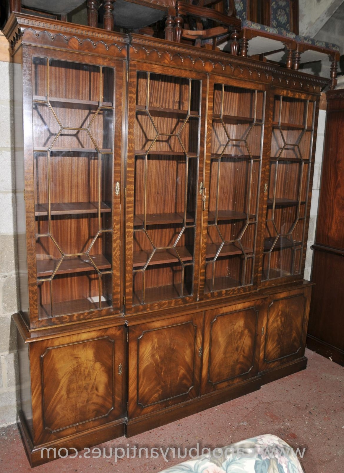 Famous Victorian Breakfront Bookcase Shelf Unit Display Cabinet Mahogany Within Breakfront Bookcases (View 4 of 15)