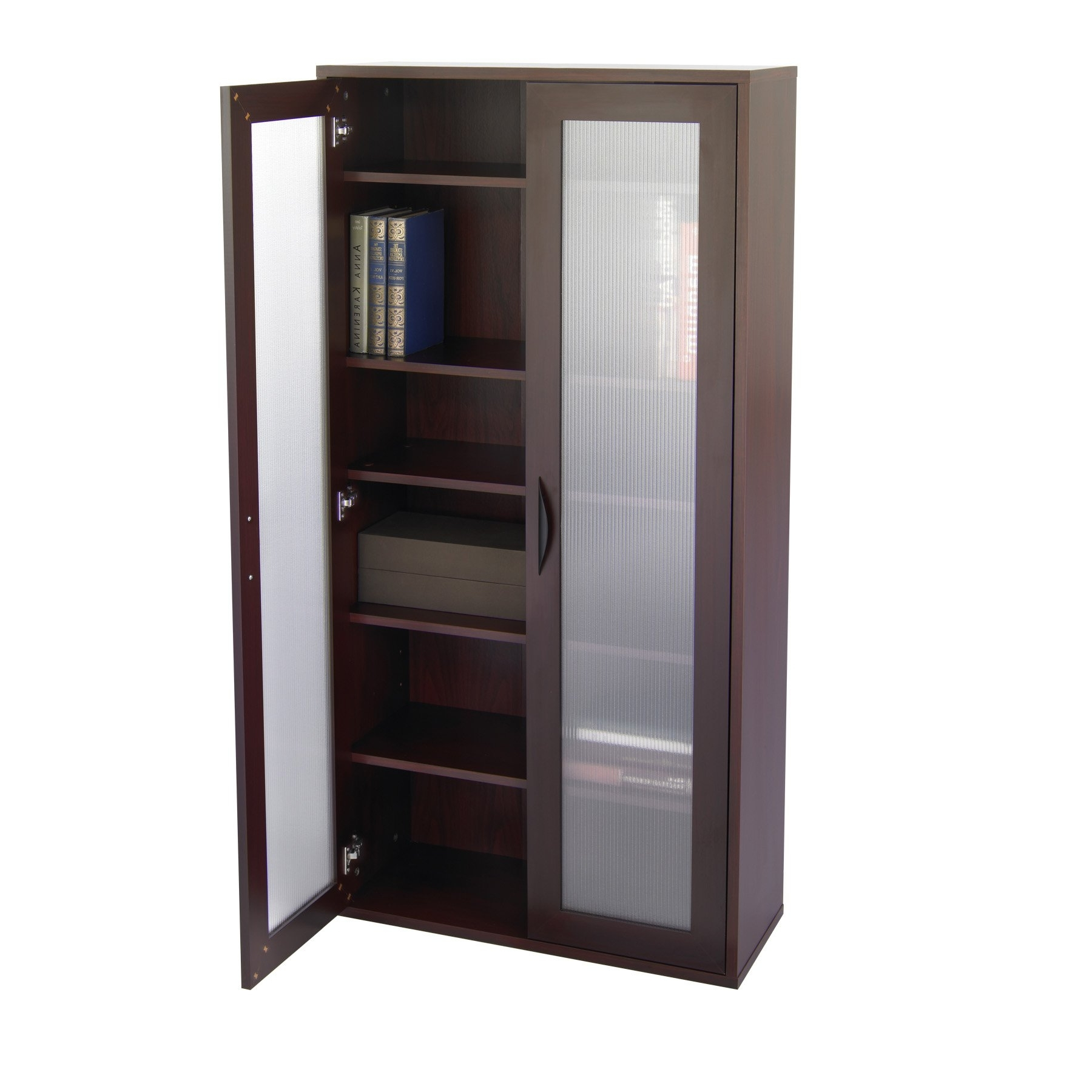 Famous White Bookcases With Glass Doors Within Storage Bookcase With Glass Doors Tall – Mahogany (View 8 of 15)
