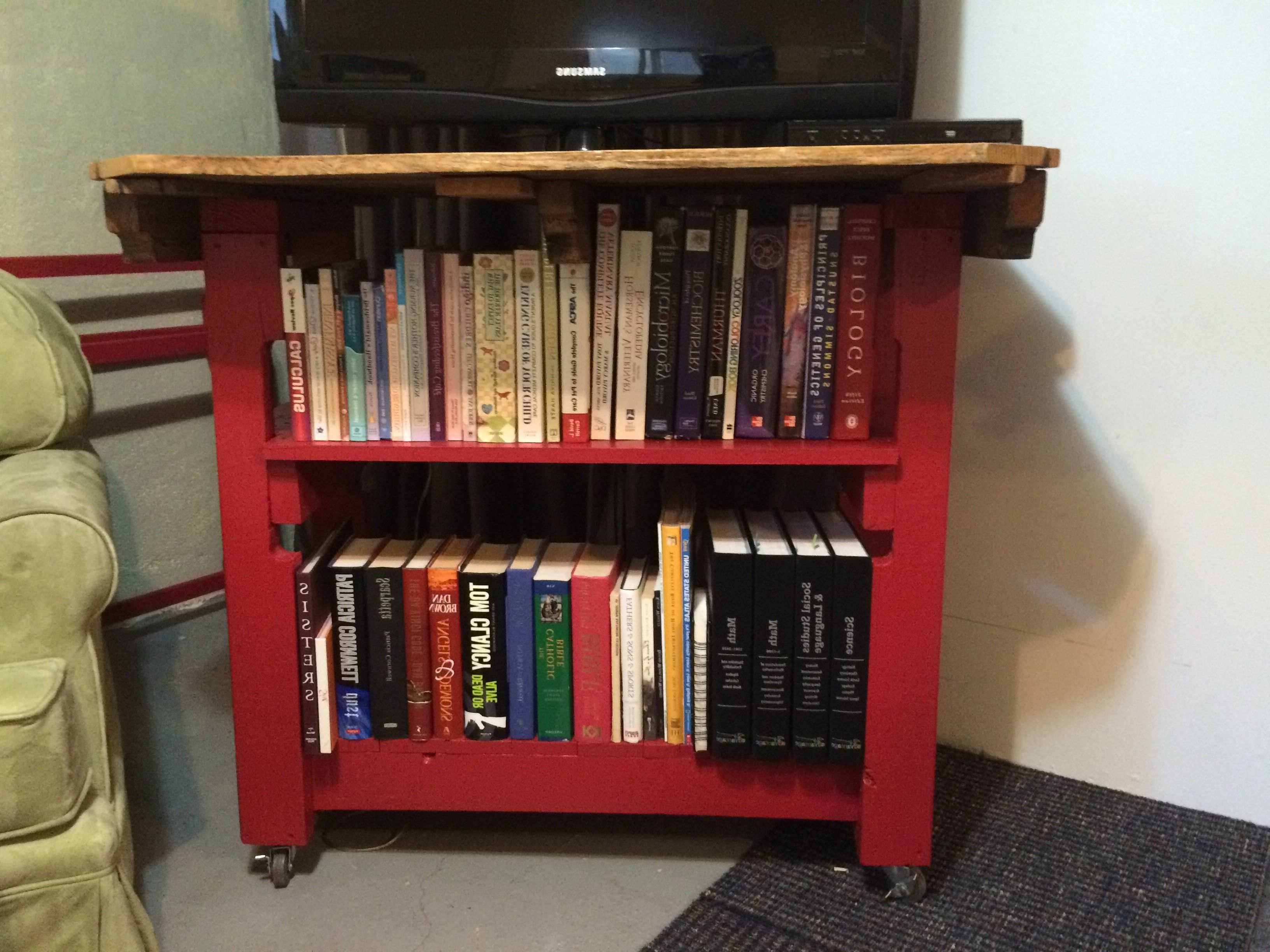 Fashionable 49 Book Shelf Table, Diy Bookshelf Desk / Craft Table Made From Throughout Pallet Bookcases (View 4 of 15)