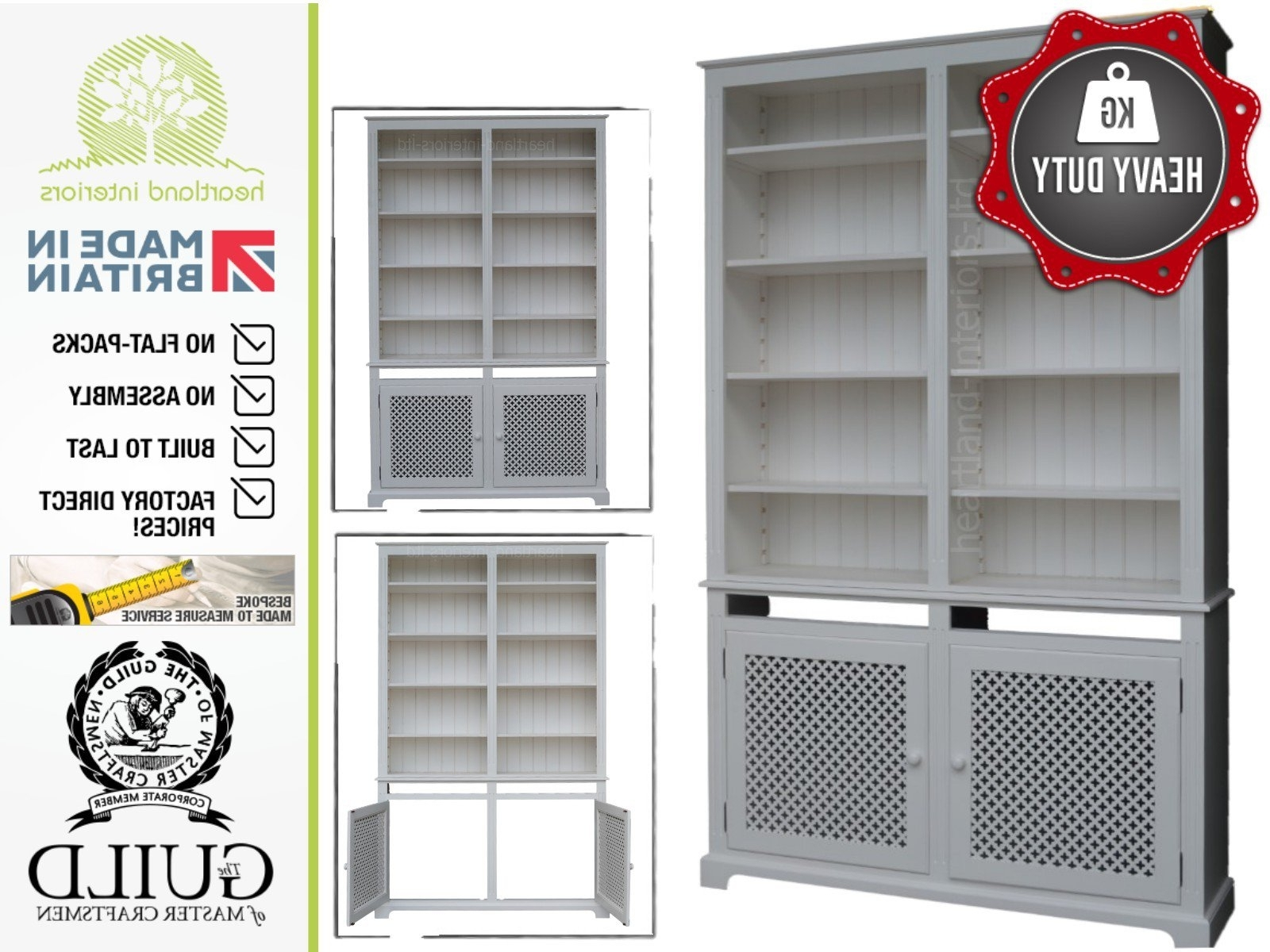 Fashionable 8ft Tall Painted Heavy Duty Radiator Cover Display Bookcase Throughout Radiator Cover Bookshelves (View 13 of 15)