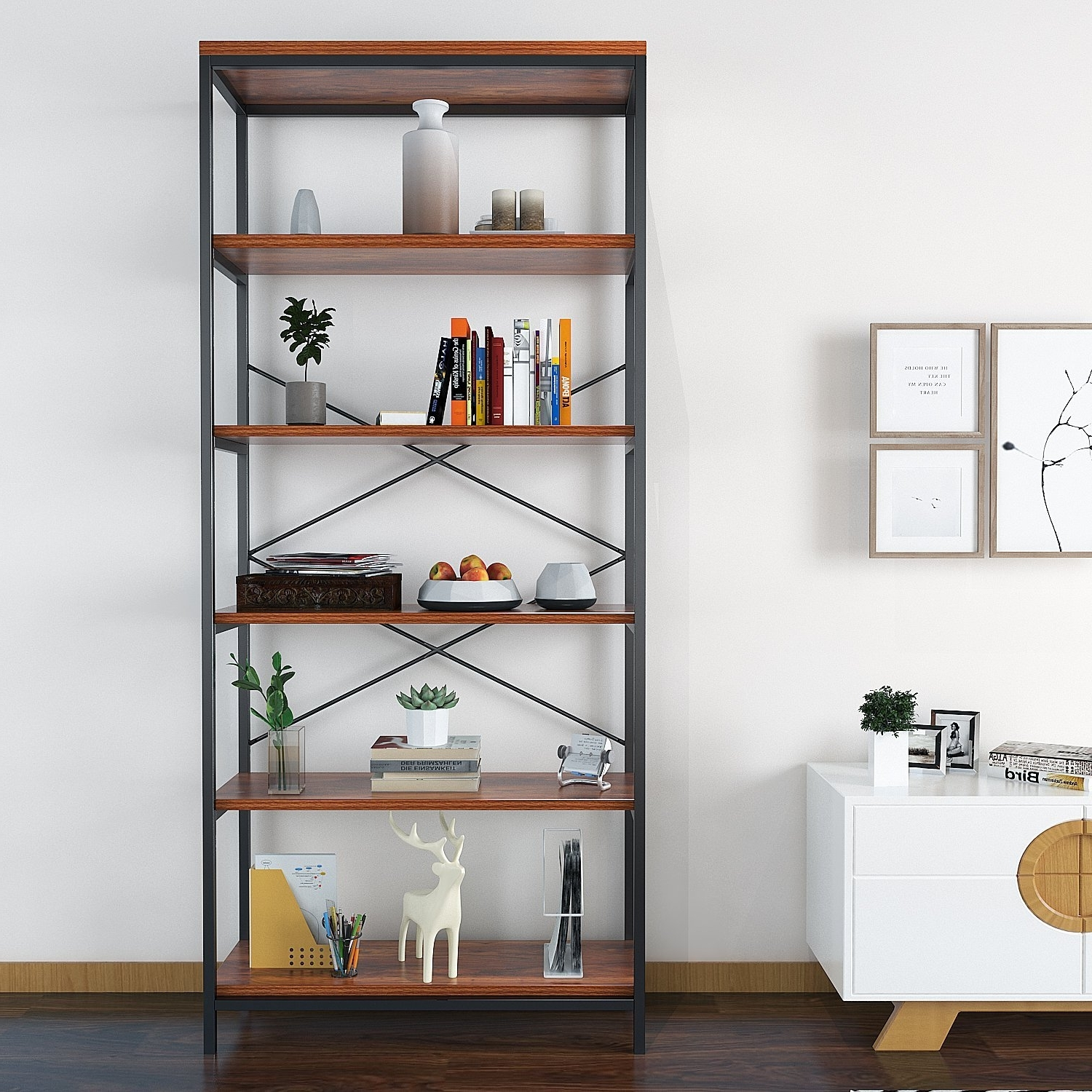 Fashionable Amazon: Bookcase Book Shelves Solid Wood 5 Shelf Industrial Throughout Bookcases (View 8 of 15)