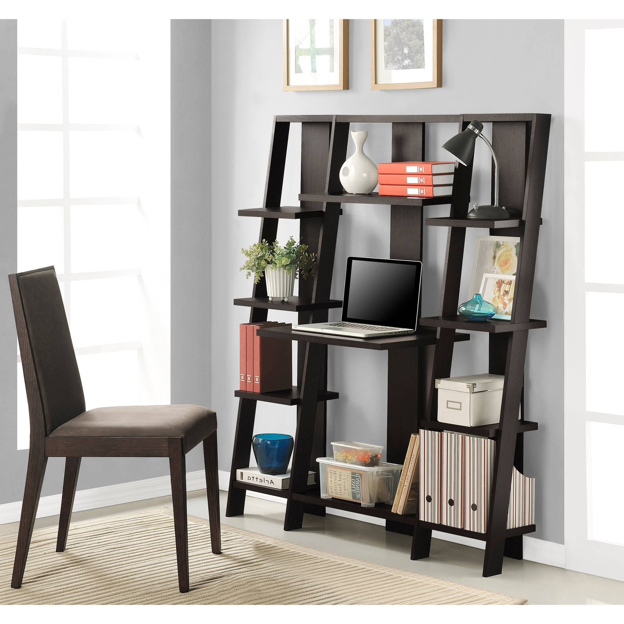 Fashionable Ameriwood Home Gradient Ladder Desk/bookcase, Espresso – Walmart In Leaning Shelf Bookcases (View 11 of 15)