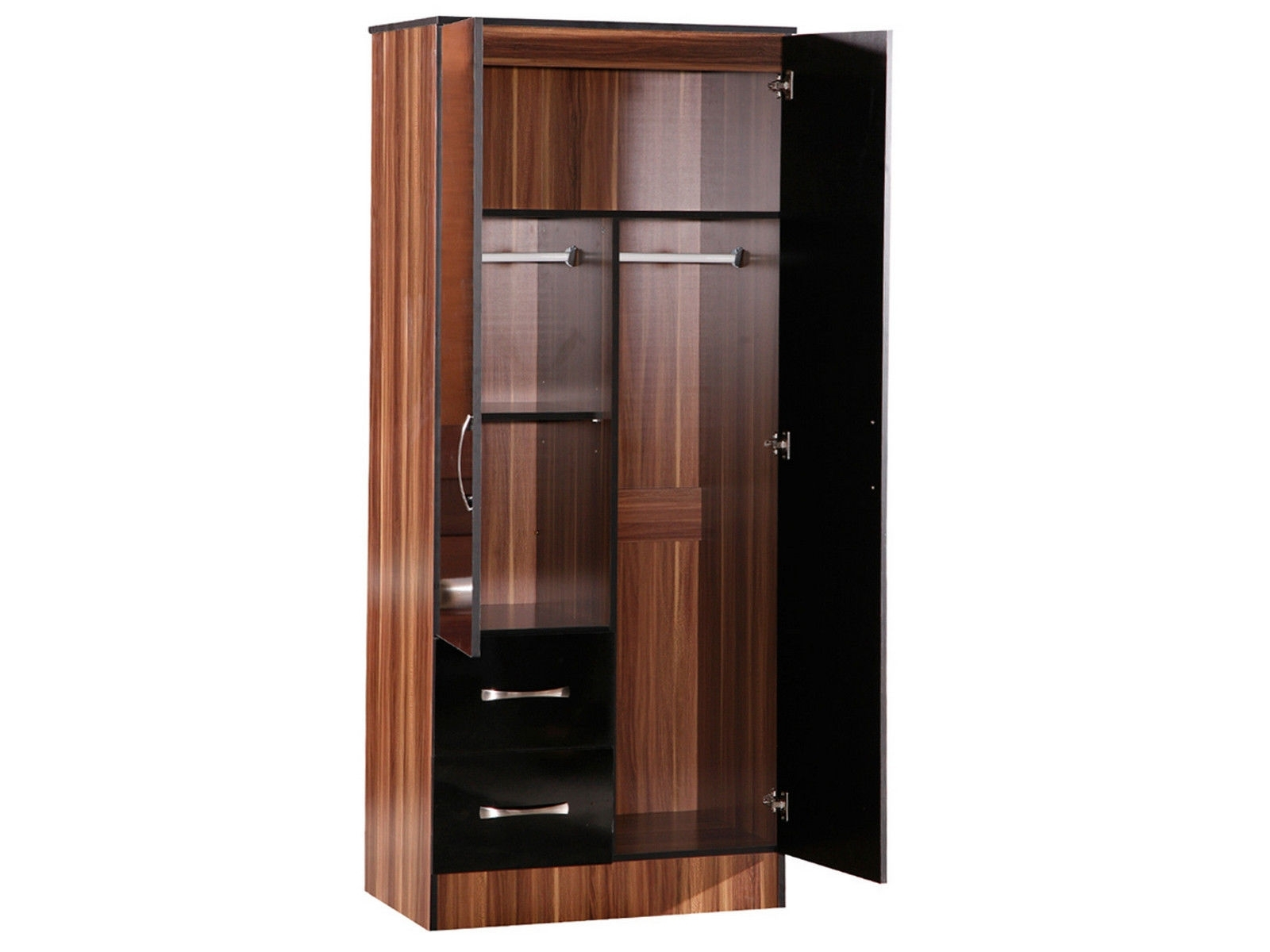 Fashionable Bedroom : Bedroom Furniture Wardrobe 56 Love Bedroom Lynx Walnut With 2 Door Wardrobes With Drawers And Shelves (View 9 of 15)
