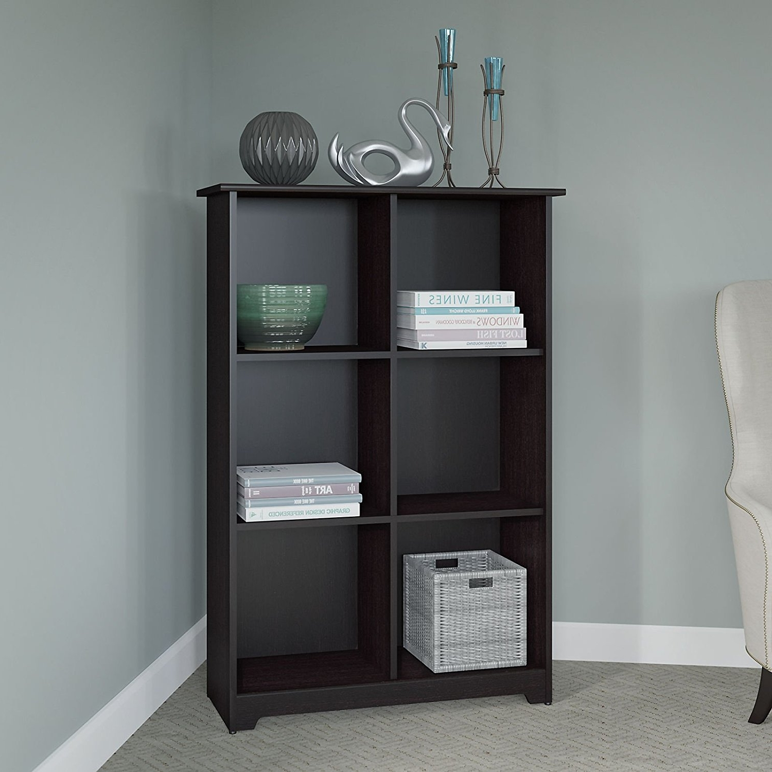 Fashionable Big Lots Bookcases For Amazon: Cabot 6 Cube Bookcase In Espresso Oak: Kitchen & Dining (View 8 of 15)