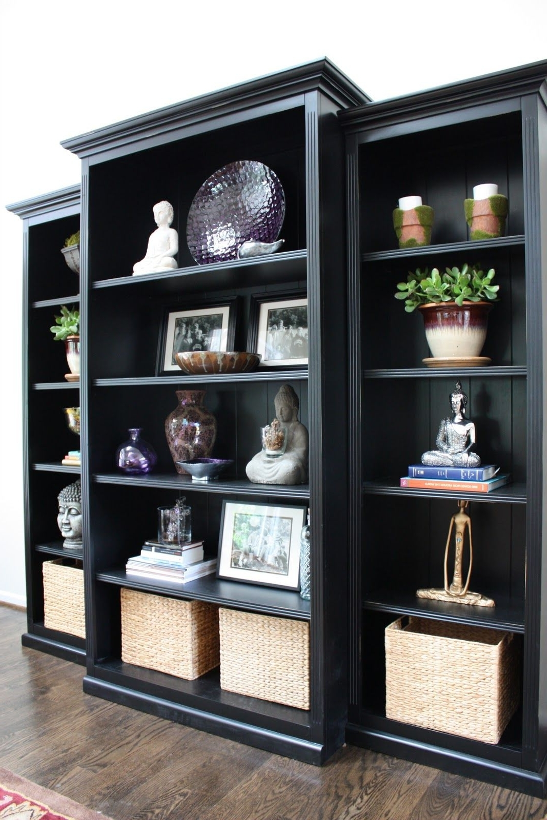 Fashionable Black Bookcases Inside Trim Three Inexpensive Bookcases With Mouldings And Paint Them (View 9 of 15)