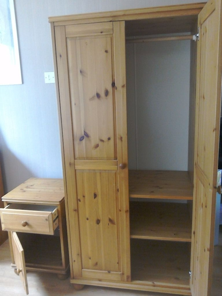 Fashionable Children's Ikea Pine Wardrobe With Rail And 2 Adjustable Shelves With Regard To Pine Wardrobes With Drawers And Shelves (View 7 of 15)