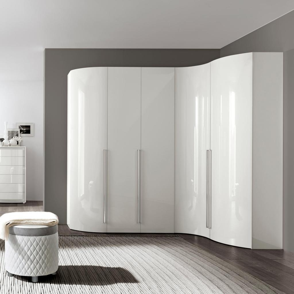 Fashionable Curved Wardrobe Doors With Bianca High Gloss Curved 5 Door Wardrobe : F D Interiors Ltd (View 8 of 15)