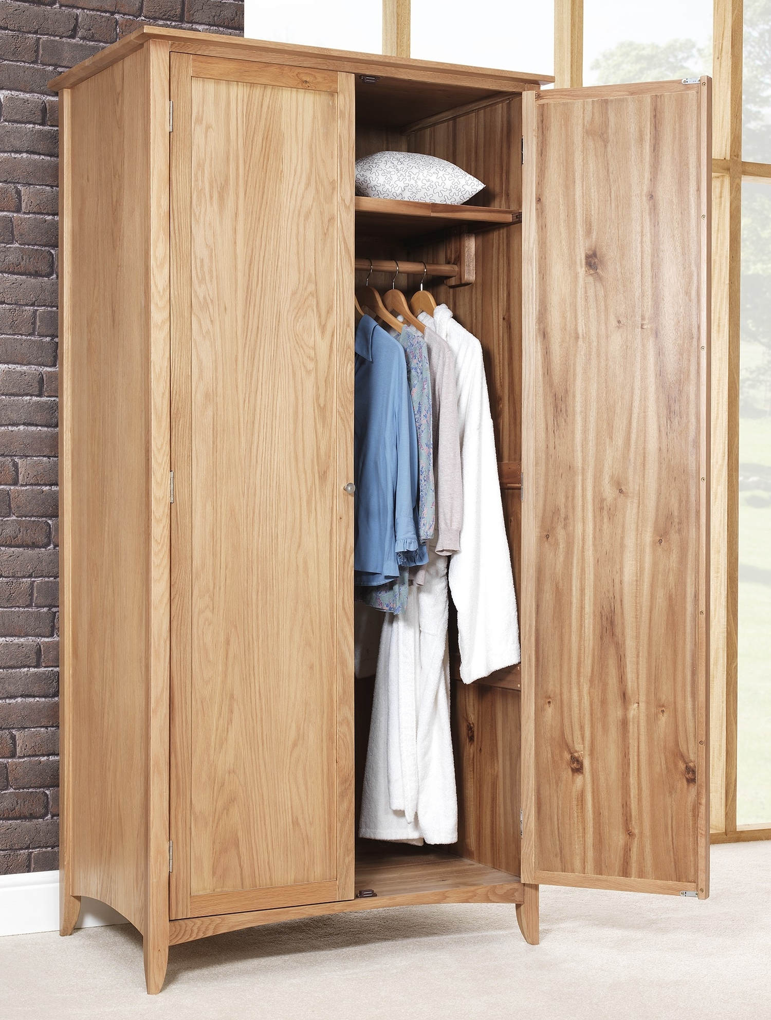 Fashionable Double Hanging Rail Wardrobes For Edward Hopper Oak Double Wardrobe (View 4 of 15)