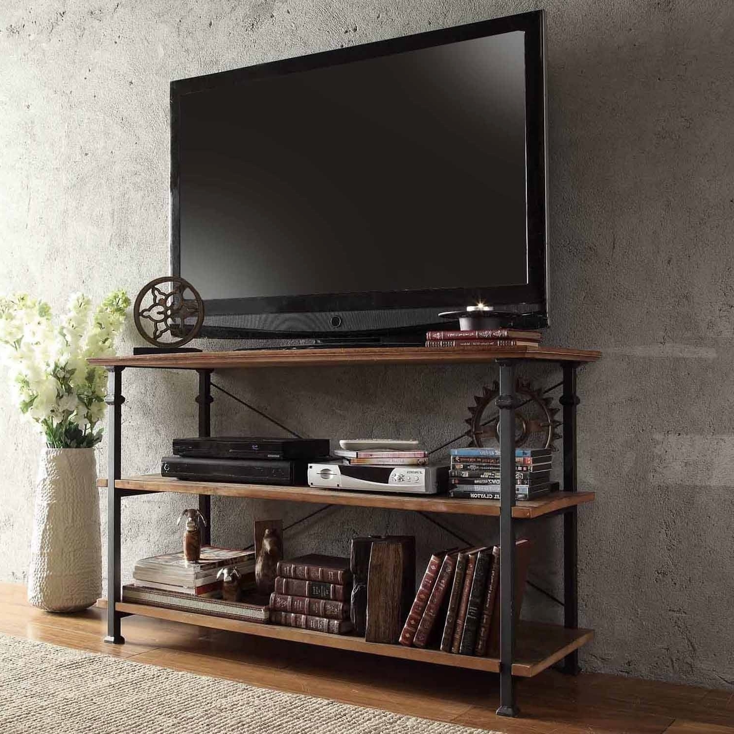 Fashionable Furniture: Handmade Wood And Metal Industrial Tv Stand With Shelf With Handmade Tv Unit (View 6 of 15)