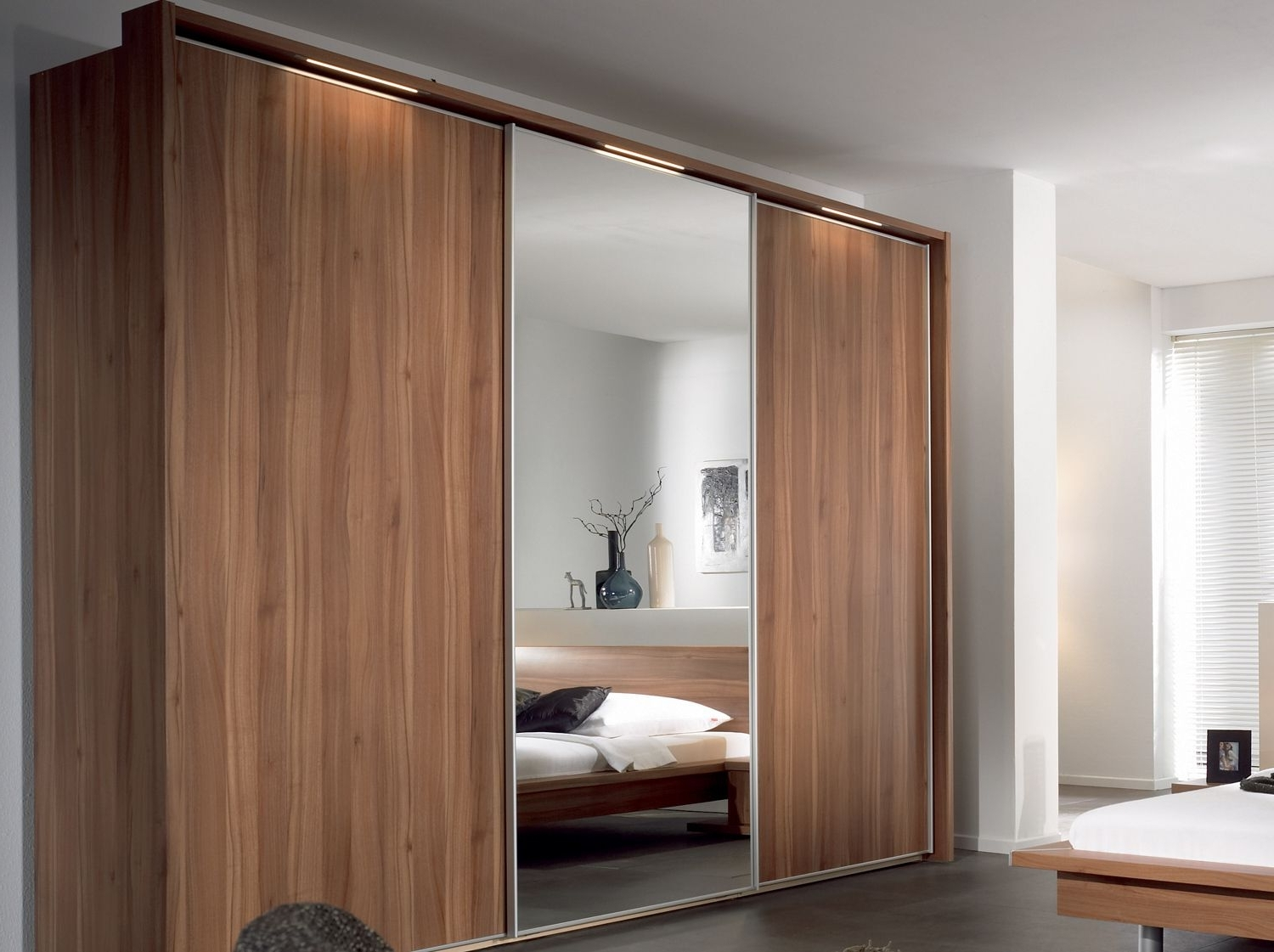 Fashionable Furniture, Sliding Wardrobe Designs With Mirror For Contemporary Pertaining To Dark Wood Wardrobes With Sliding Doors (View 7 of 15)