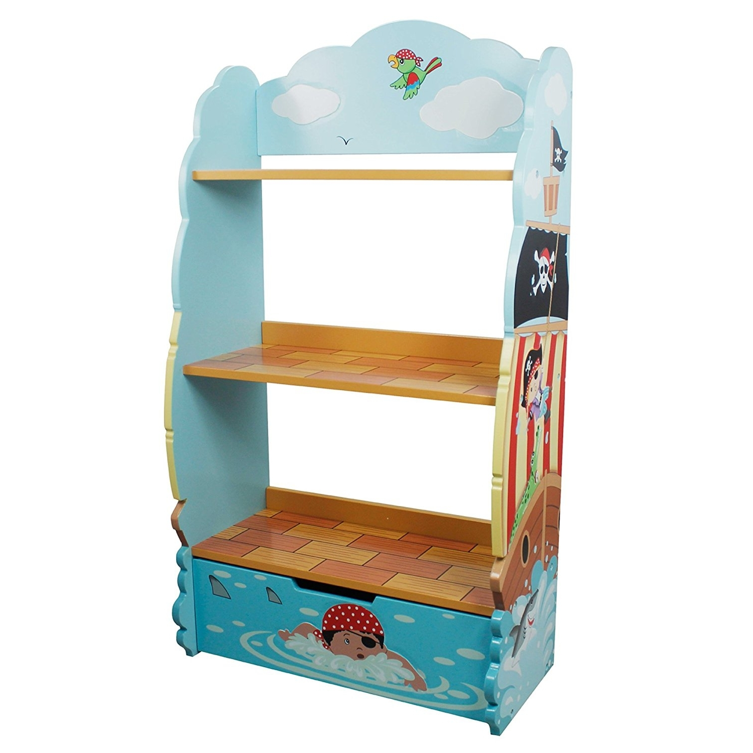 Fashionable Hand Painted Bookcases Regarding Amazon: Fantasy Fields – Pirate Island Thematic Kids Wooden (View 10 of 15)
