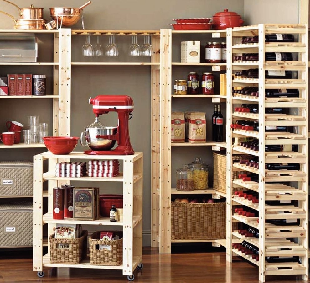 Fashionable Home Shelving Systems With Organizer: Pantry Shelving Systems For Cluttered Storage Spaces (View 8 of 15)