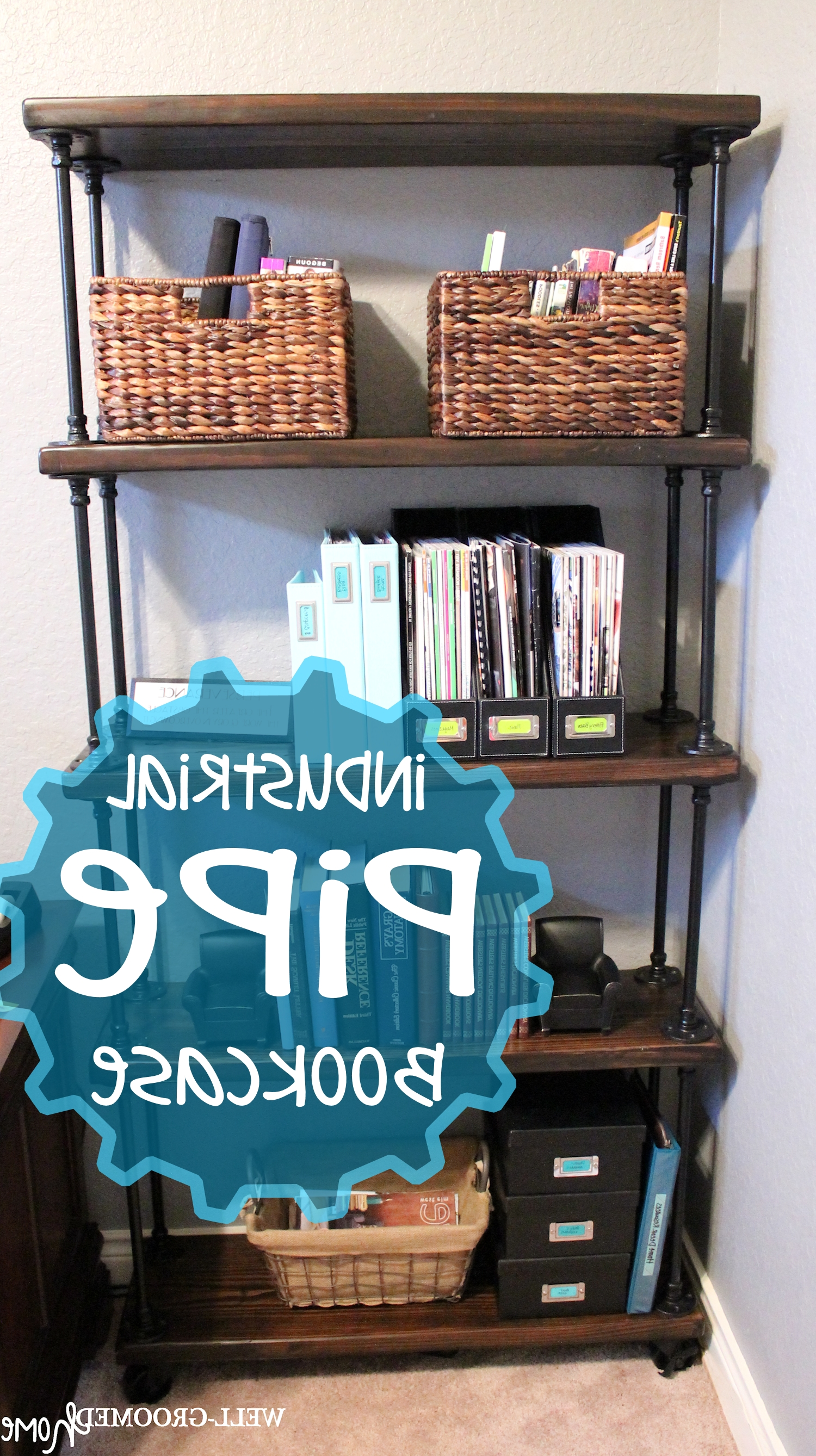 Fashionable Industrial Pipe Bookcase – Well Groomed Home Pertaining To Pipe Bookcases (View 14 of 15)