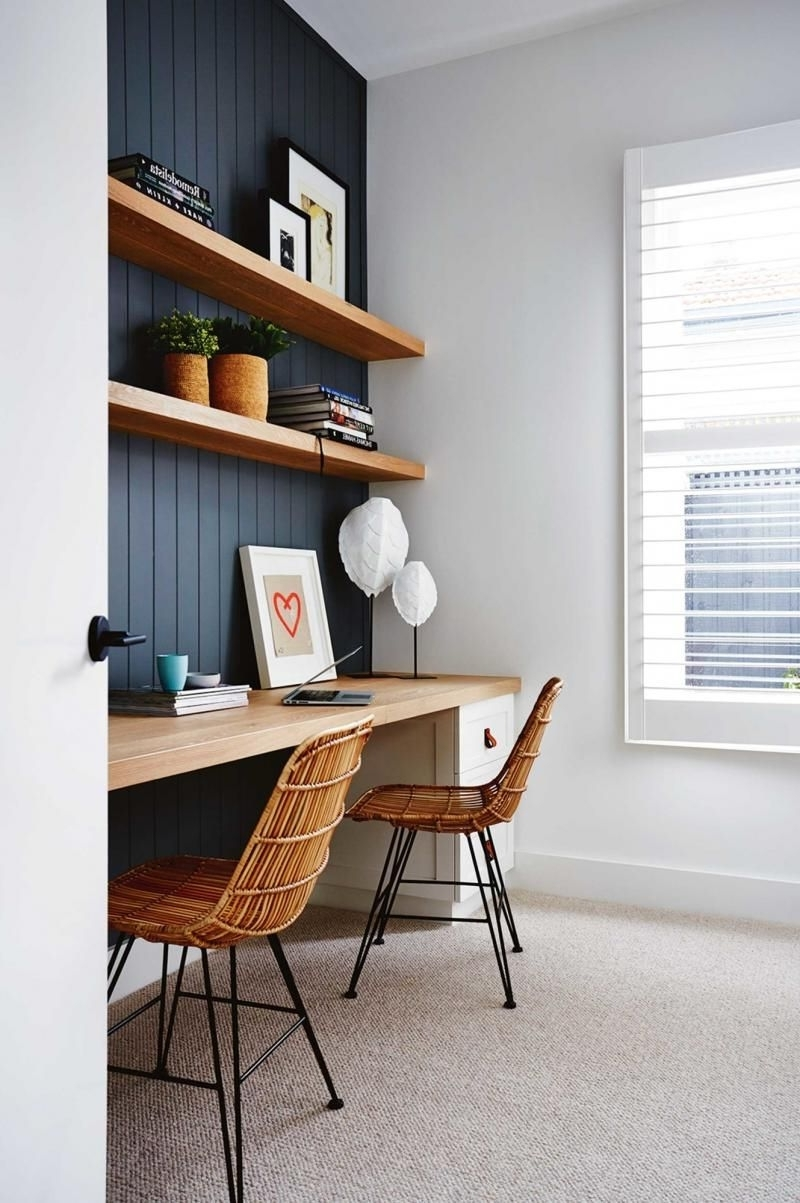 Fashionable Like : Dark Paneled Wall W Natural Wood Shelves (View 3 of 15)
