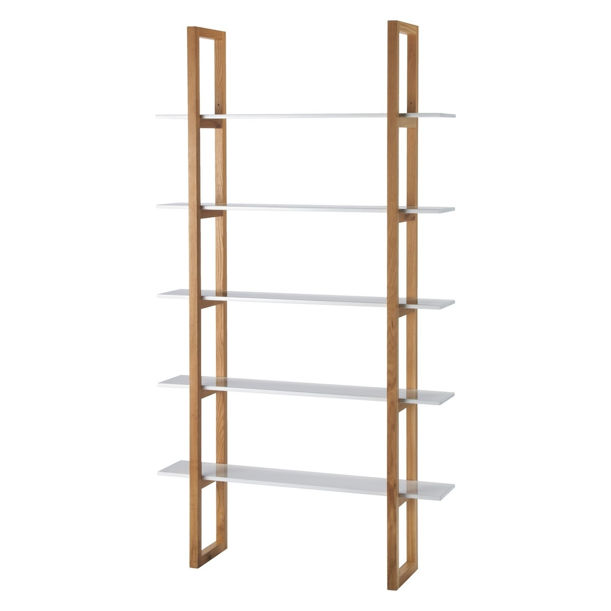 Fashionable Loki Solid Oak And White 5 Shelf Bookcase (View 13 of 15)