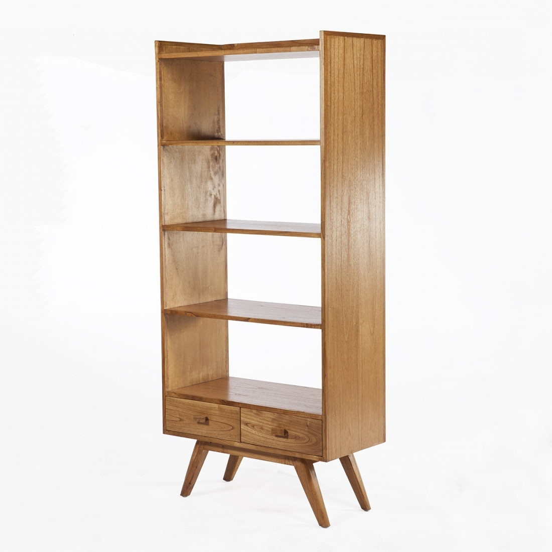 Fashionable Mid Century Modern Bookcases Throughout Furniture: Mid Century Modern Tall 4 Tier Shelving Bookcase With  (View 2 of 15)