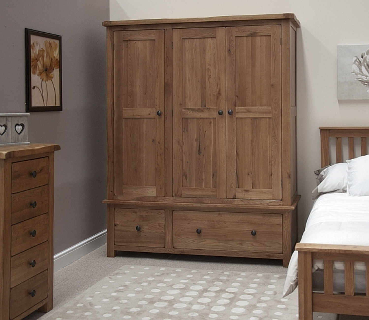 Fashionable Oak Wardrobes With Drawers And Shelves Regarding Furniture : Bedroom Furniture Armoire Sliding Mirror Wardrobe (View 5 of 15)