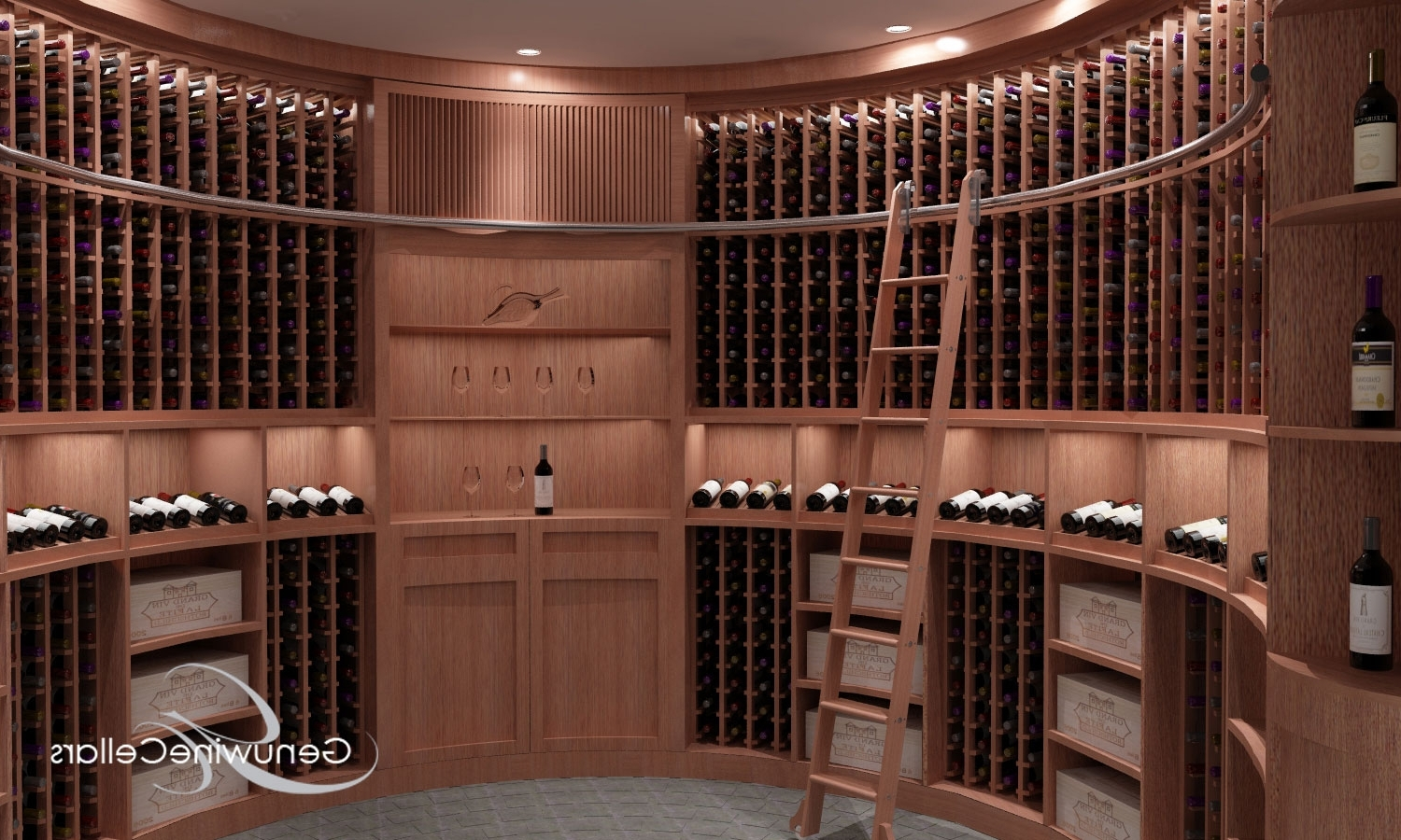 Fashionable Rolling Ladder For Custom Wine Cellars Throughout Rolling Library Ladder (View 4 of 15)