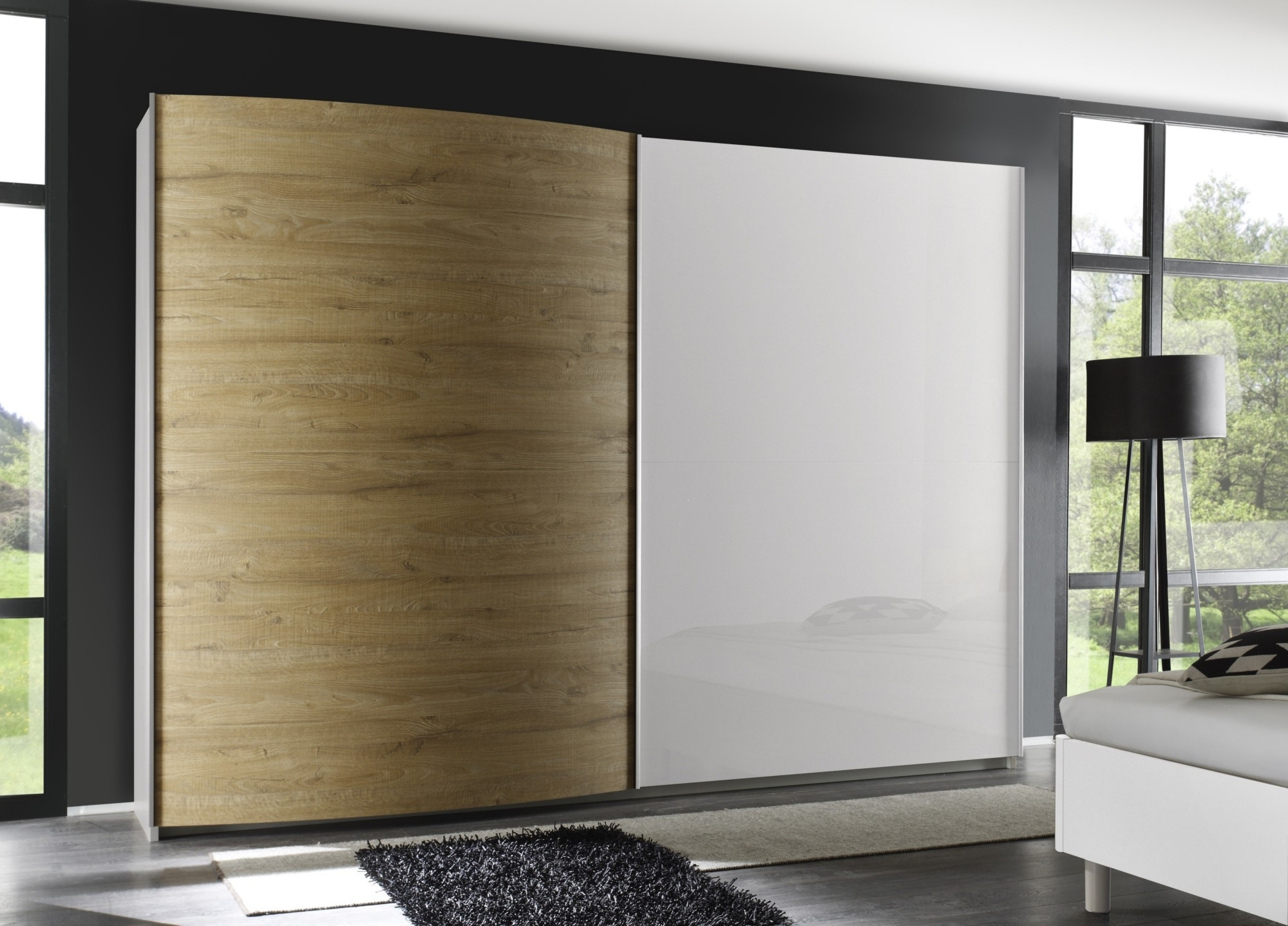 Fashionable Tambura Curved Sliding Doors Wardrobe, White + Miele Buy Online At Throughout Curved Wardrobes Doors (View 7 of 15)