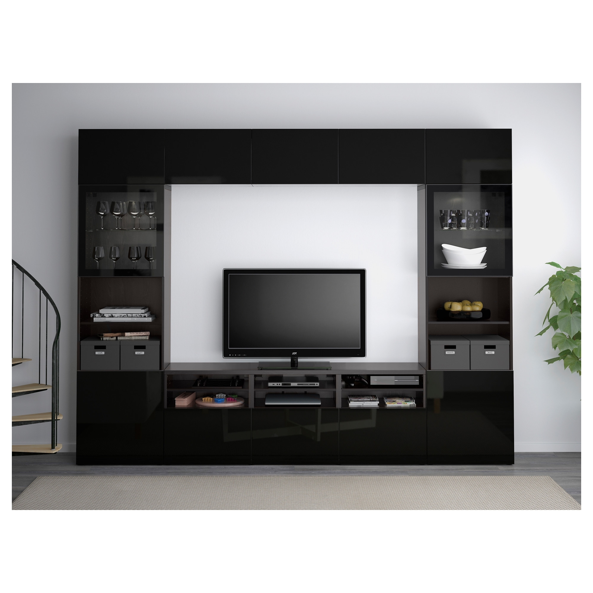 Fashionable Tv Storage Units Intended For Besta Tv Storage Combinationglass Doors Black Brownselsviken Ikea (View 12 of 15)