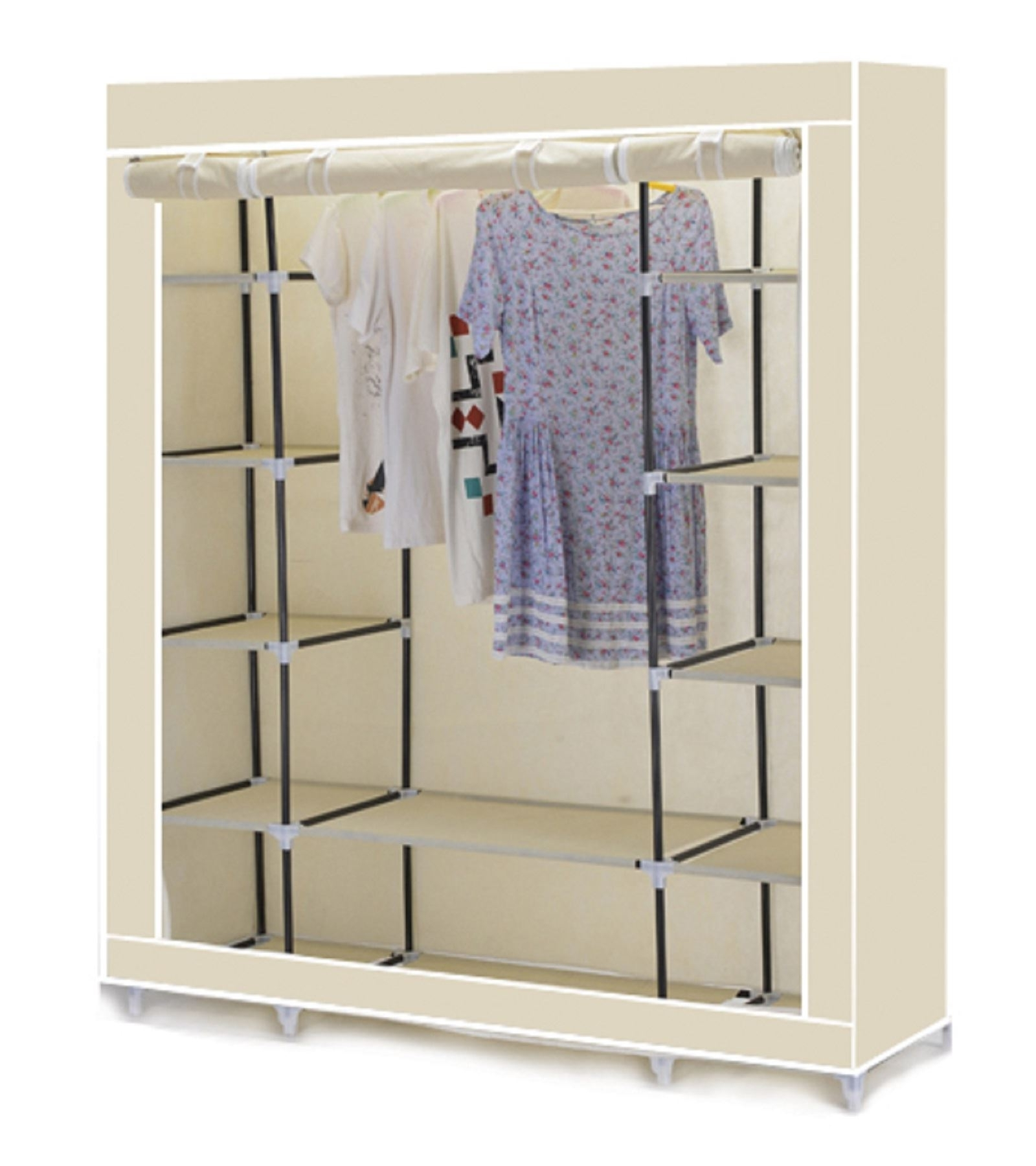 Fashionable Vinsani Triple Canvas Clothes Wardrobe Cupboard Hanging Rail With Pertaining To Double Canvas Wardrobes Rail Clothes Storage Cupboard (View 8 of 15)