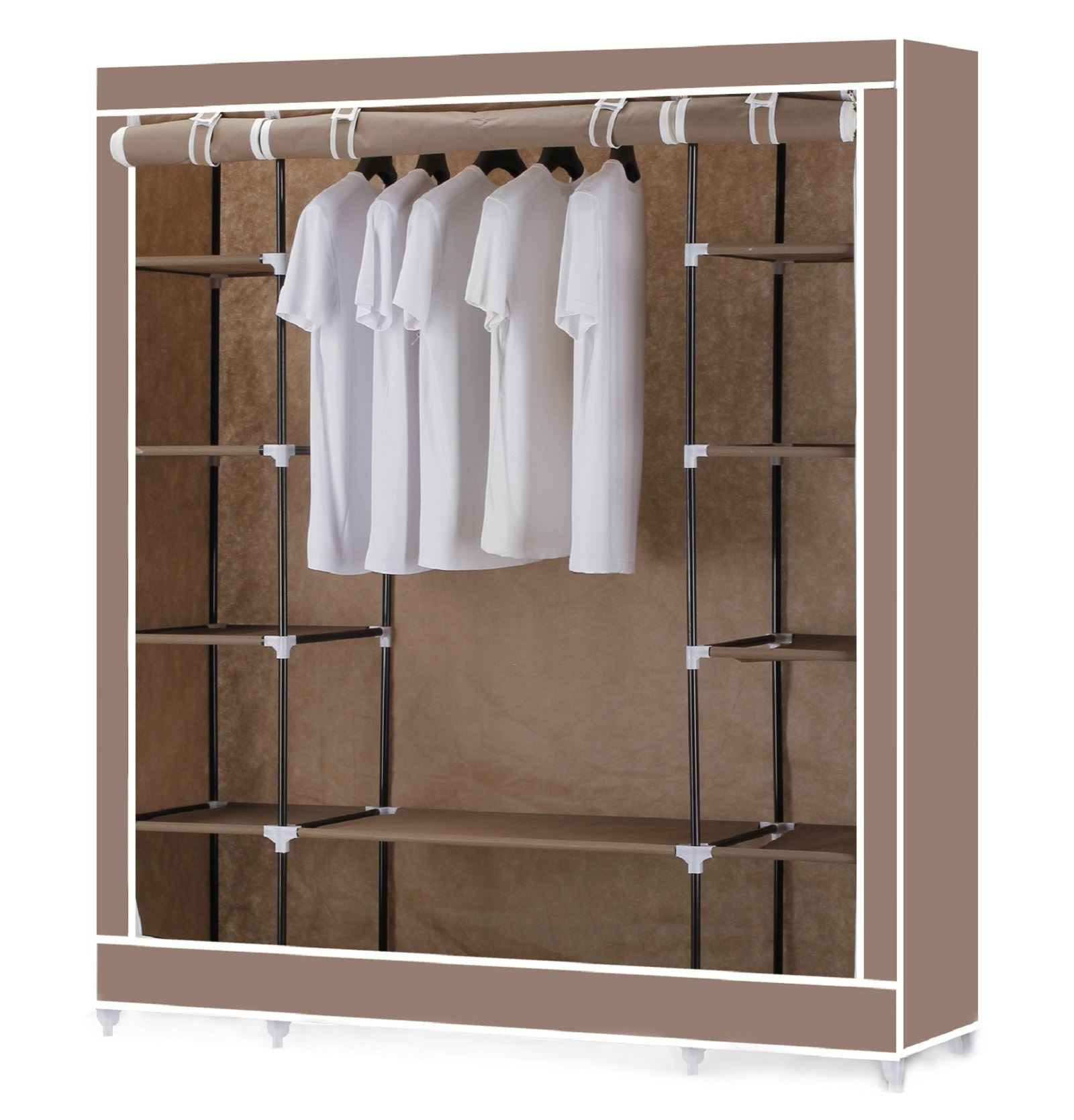 Fashionable Vinsani Triple Canvas Clothes Wardrobe Hanging Rail With Storage For Double Rail Canvas Wardrobes (View 3 of 15)