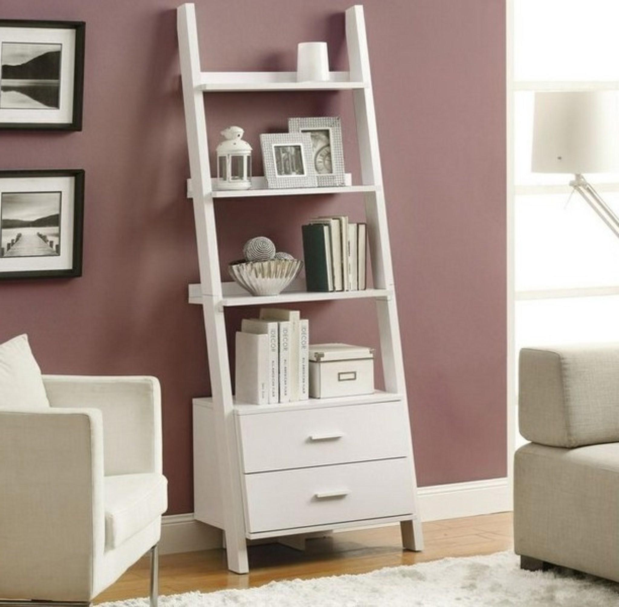 Fashionable White Ladder Shelf Bookcase For Contemporary Living Room Design Regarding White Ladder Shelf (View 4 of 15)