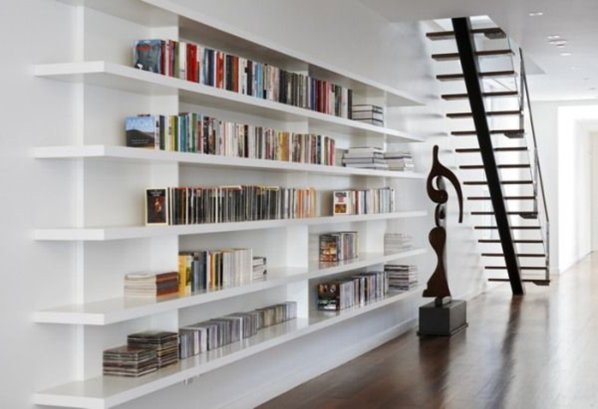 Fashionable White Library Bookcases Pertaining To Stock Photo Modern Interior White Bookcase With Old Library Books (View 10 of 15)