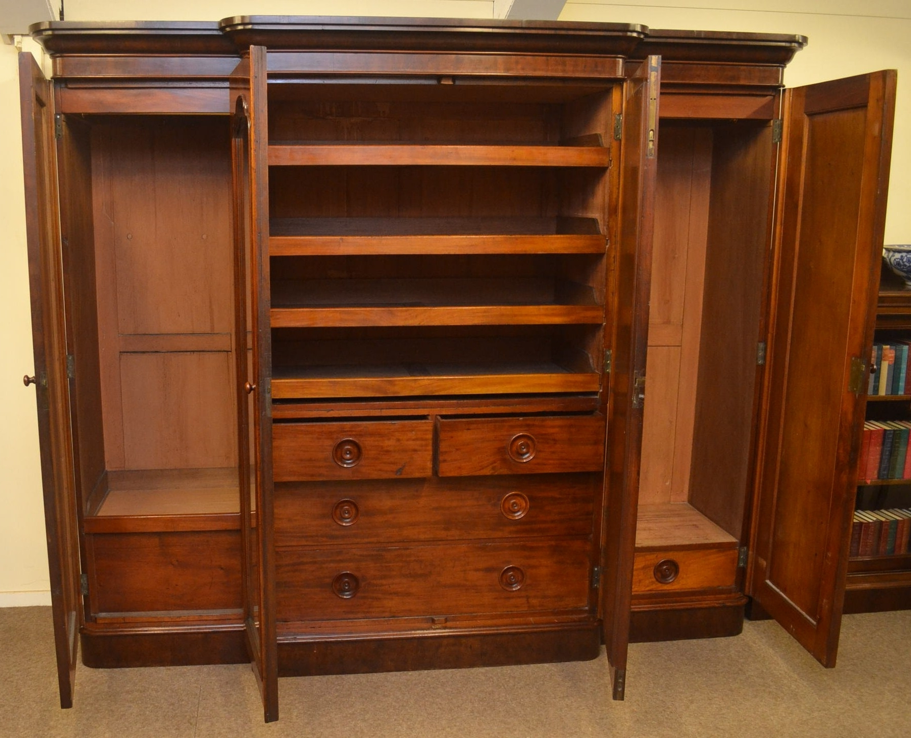 Favorite Breakfront Victorian Mahogany Wardrobe C1870 In From Quayside Antiques Throughout Breakfront Wardrobes (View 9 of 15)