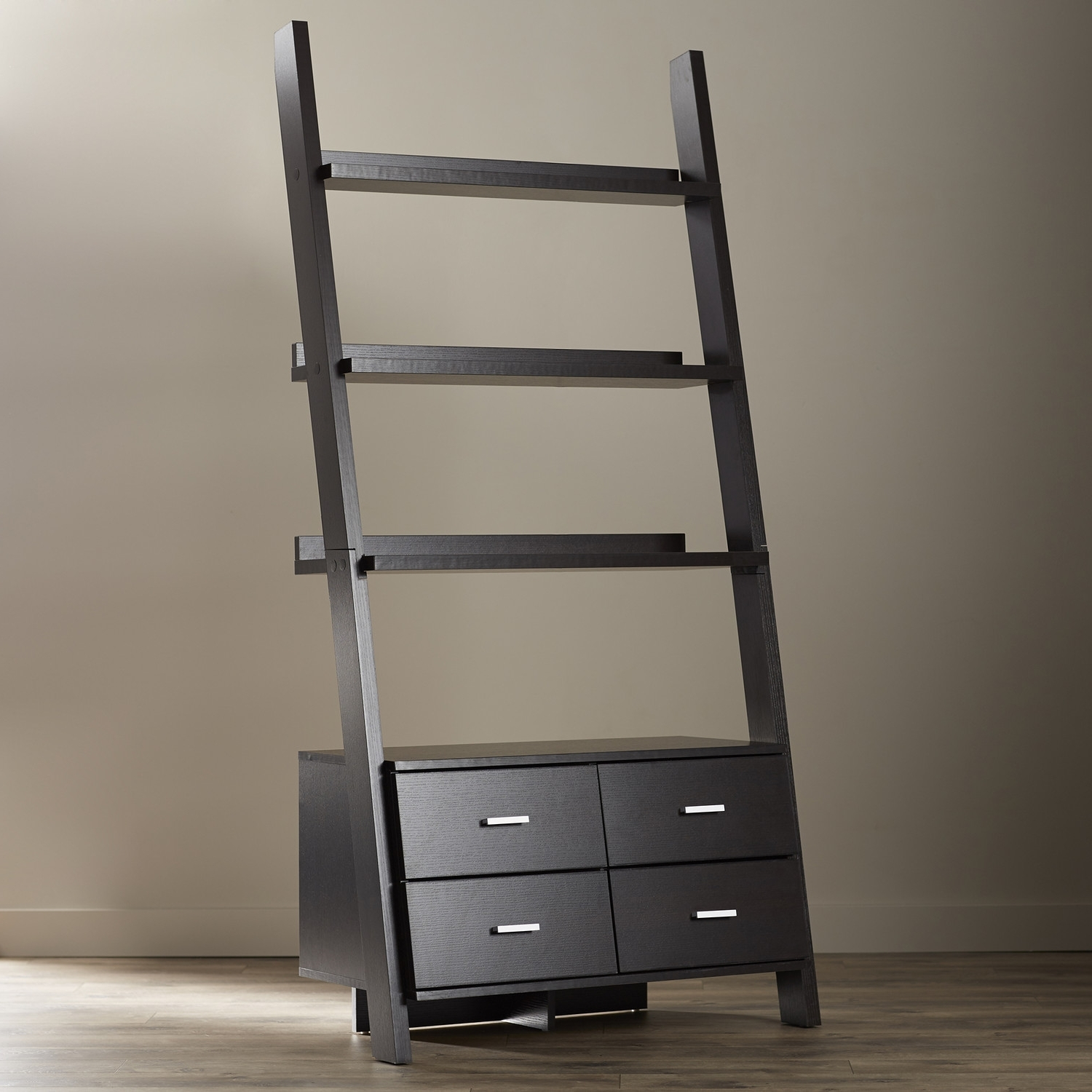 Favorite Breathtaking Black Bookcase Wood 4 Drawer Storage 3 Tier Shelf Throughout Ladder Bookcases With Drawers (View 3 of 15)