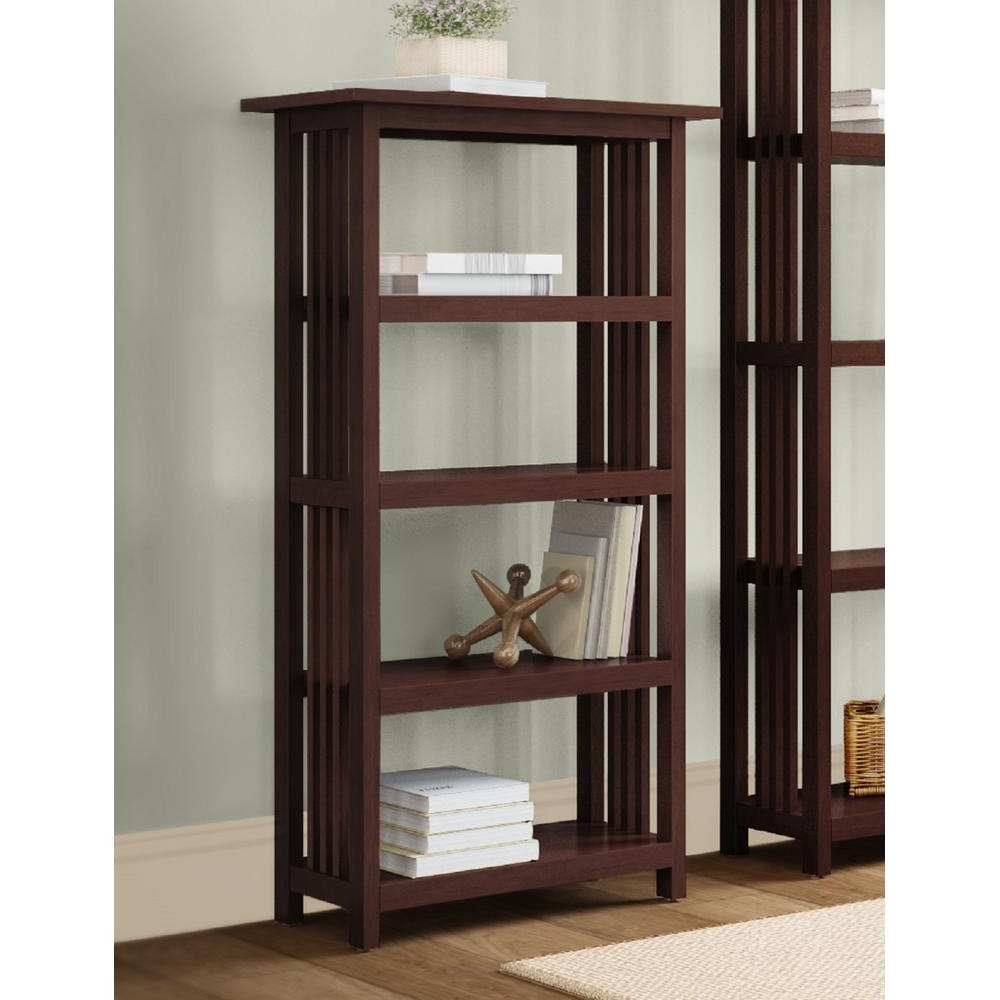 Favorite Espresso Bookcases Pertaining To Alaterre Furniture Mission Cherry Open Bookcase Amia0760 – The (Gallery 5 of 15)
