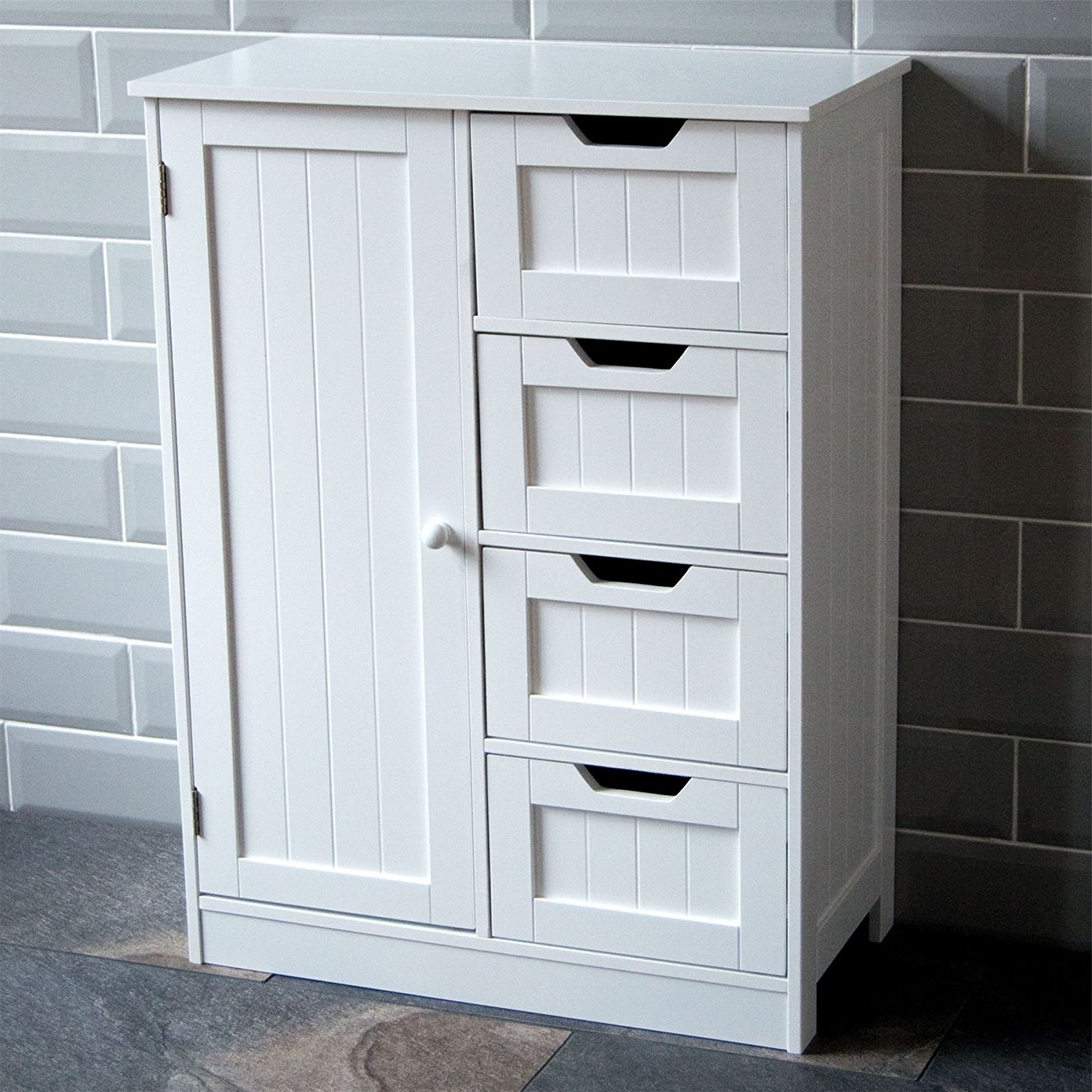 Favorite Free Standing Storage Cupboards In Home Discount® Bathroom Cupboard 4 Drawer 1 Door Floor Standing (View 7 of 15)