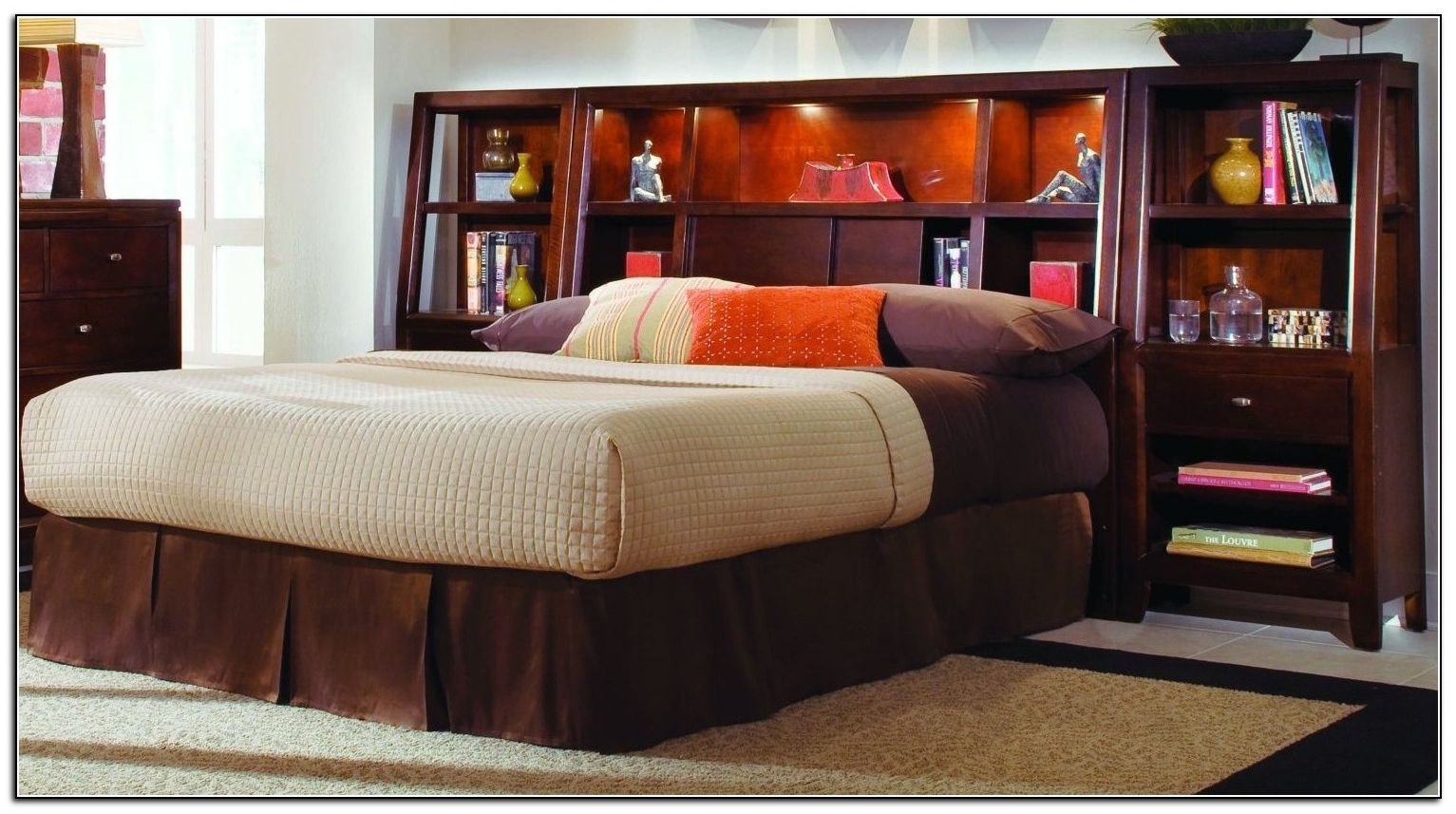 Favorite Full Size Headboard Bookcases Intended For Full Size Storage Bed With Bookcase Headboard 2017 And King Single (View 5 of 15)