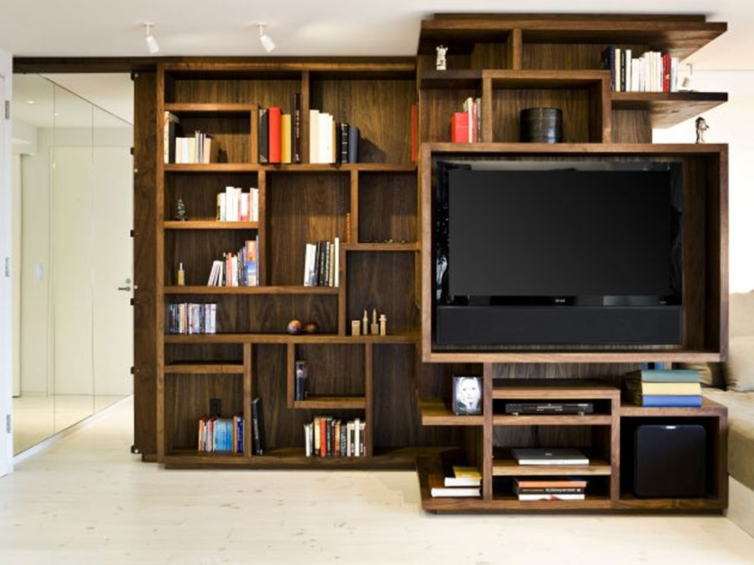 Favorite Furniture : Wooden Bookshelf Furniture Ideas Alongside Wooden Pertaining To Bookshelves With Tv Space (View 9 of 15)