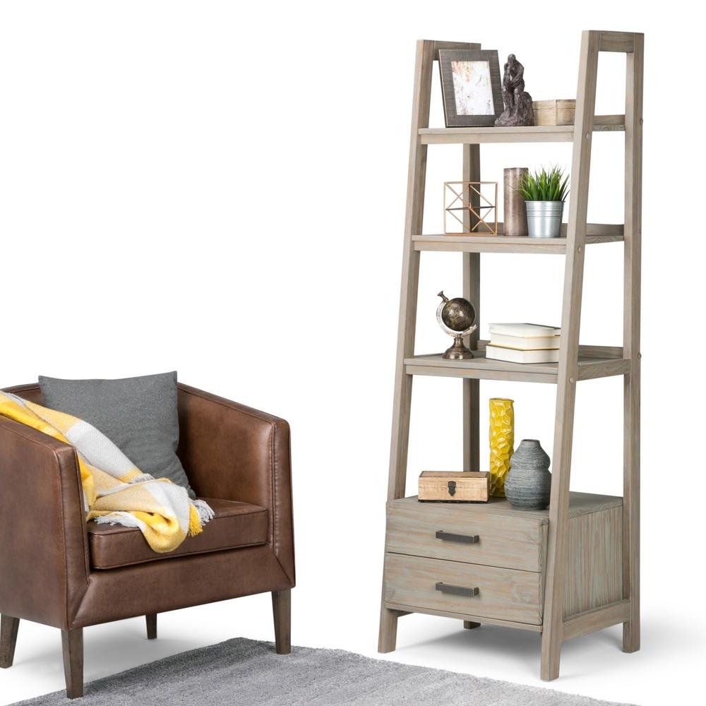 Favorite Ladder Bookcases With Drawers Regarding Simpli Home Sawhorse Distressed Grey Ladder Bookcase 3Axcsaw 05 Gr (View 4 of 15)