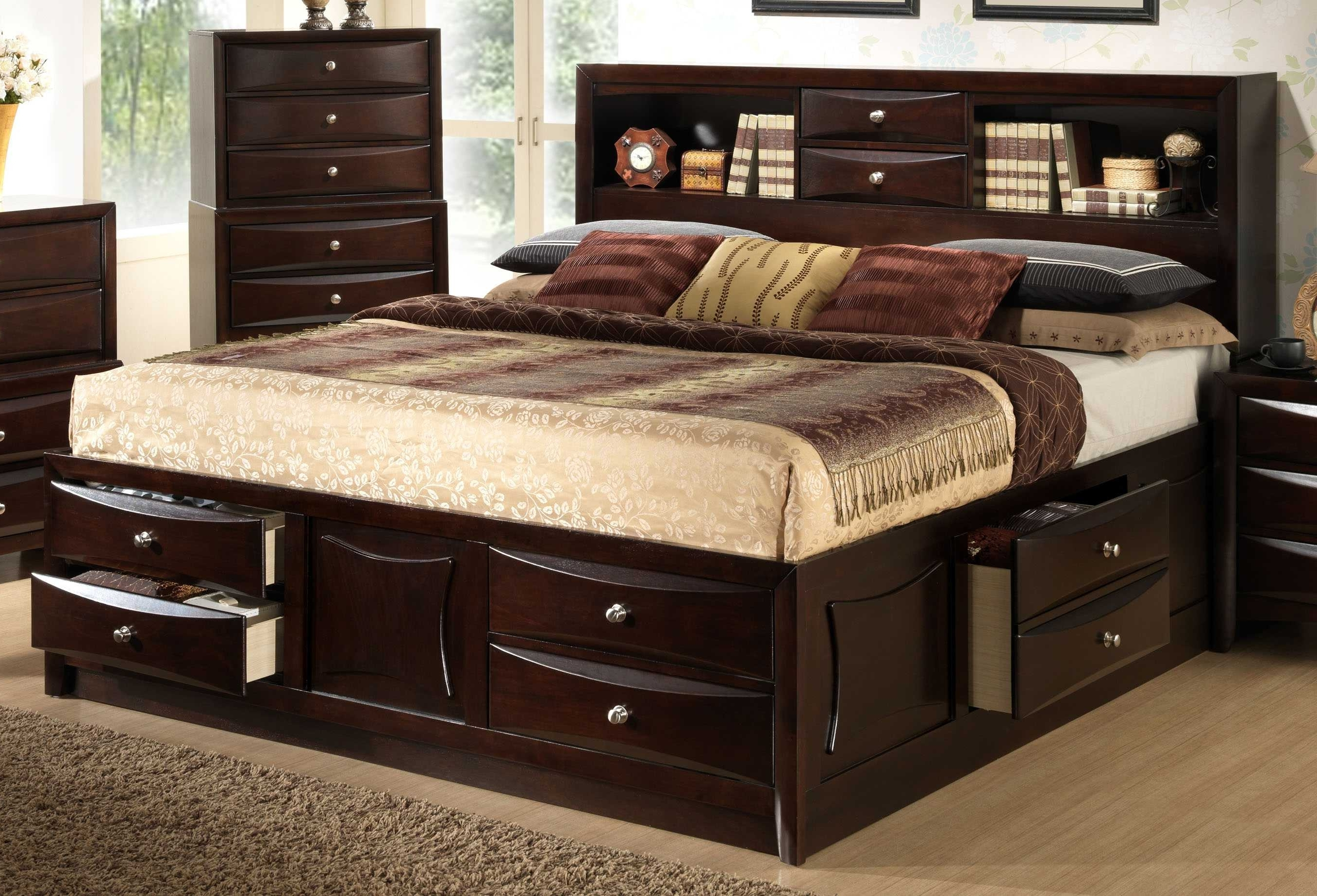 Favorite Storage Bed With Bookcase Headboard Bedroom Queen Inspirations Pertaining To Queen Bed Bookcases (View 6 of 15)