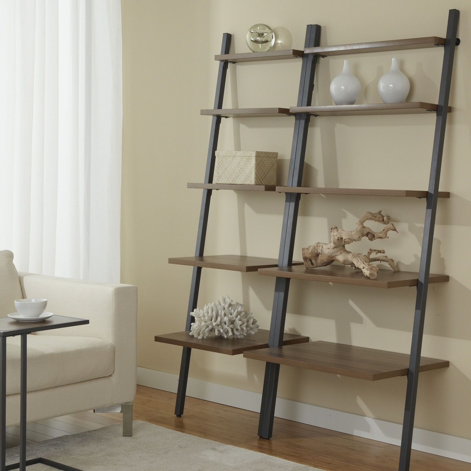 Favorite Target Leaning Bookcases For Furniture: Elegant White Target Futon With Ikea Side Table And (View 6 of 15)