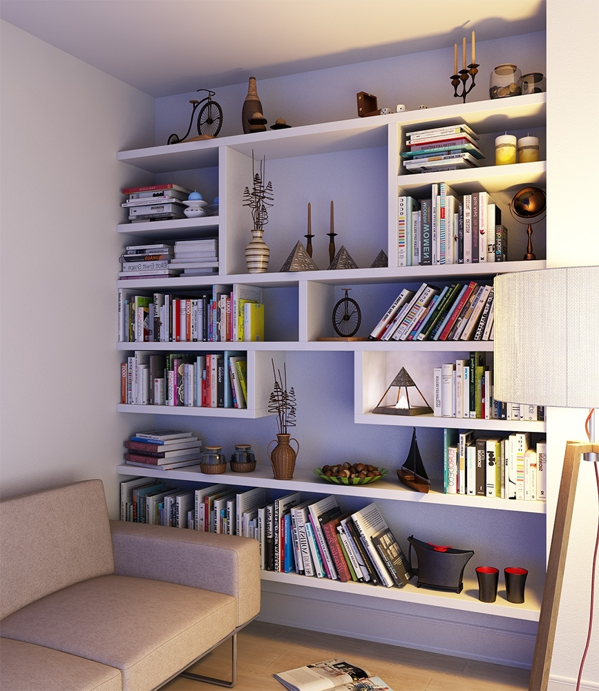 Fitted Bookshelves Intended For Widely Used Floating Built In Bookshelves, Hampstead (View 6 of 15)