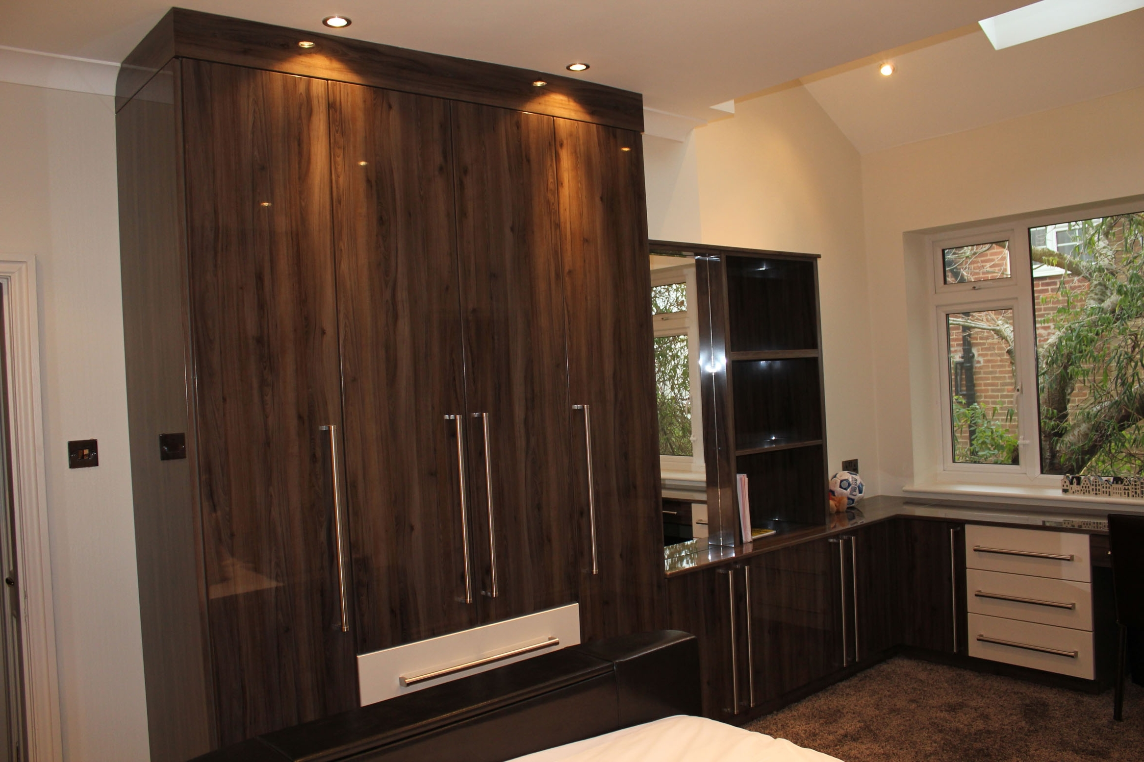 Fitted Cabinets Intended For Well Liked Bedroom: Fitted Bedrooms Wardrobe Wooden Cabinets Mirror Window (View 4 of 15)