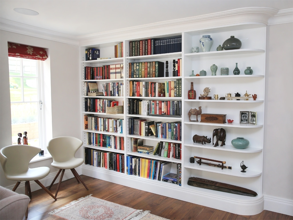 Fitted Shelves Throughout Widely Used White Curved Built In Shelving Unit (View 4 of 15)
