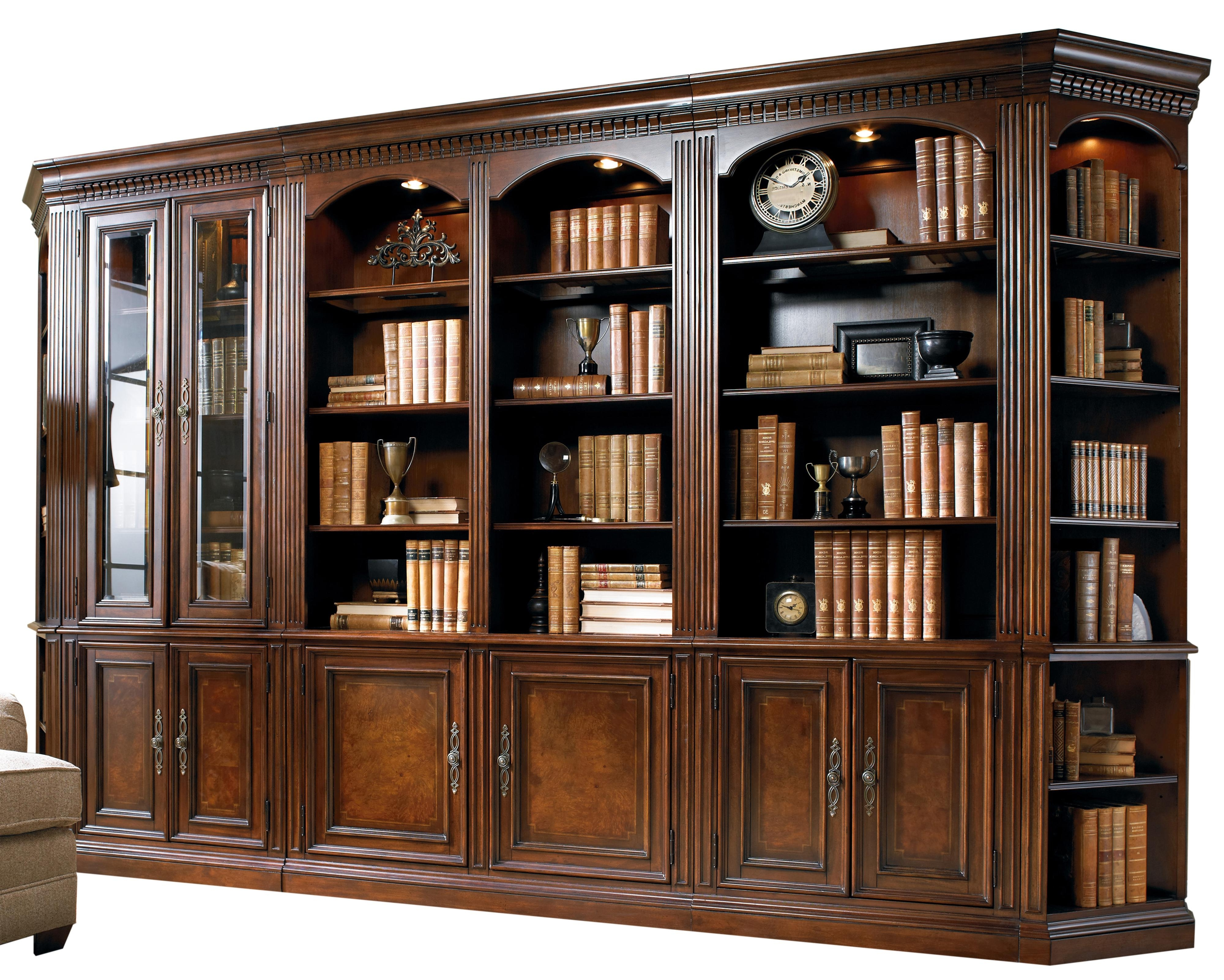 Five Piece Library Wall Unit With Touch Lighting And Adjustable Intended For Latest Bookcases Library Wall Unit (View 12 of 15)