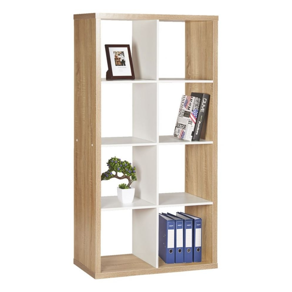 Flat Pack Bookcases In Well Liked Horsens 8 Cube Bookshelf Oak And White ( Flat Pack Bookcases # (View 5 of 15)