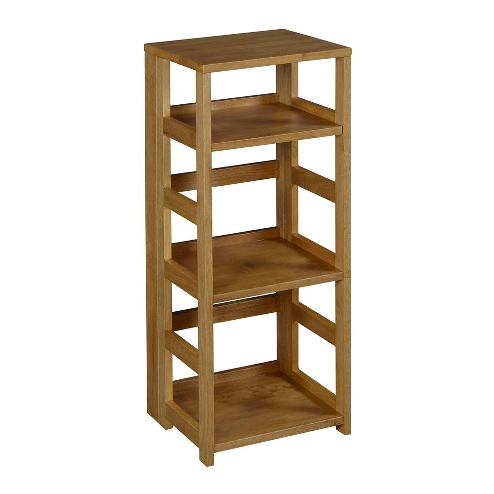 Foldable Bookcases Intended For Most Recently Released Niche Flip Flop Medium Oak 3 Shelf Square Folding Bookcase (View 9 of 15)