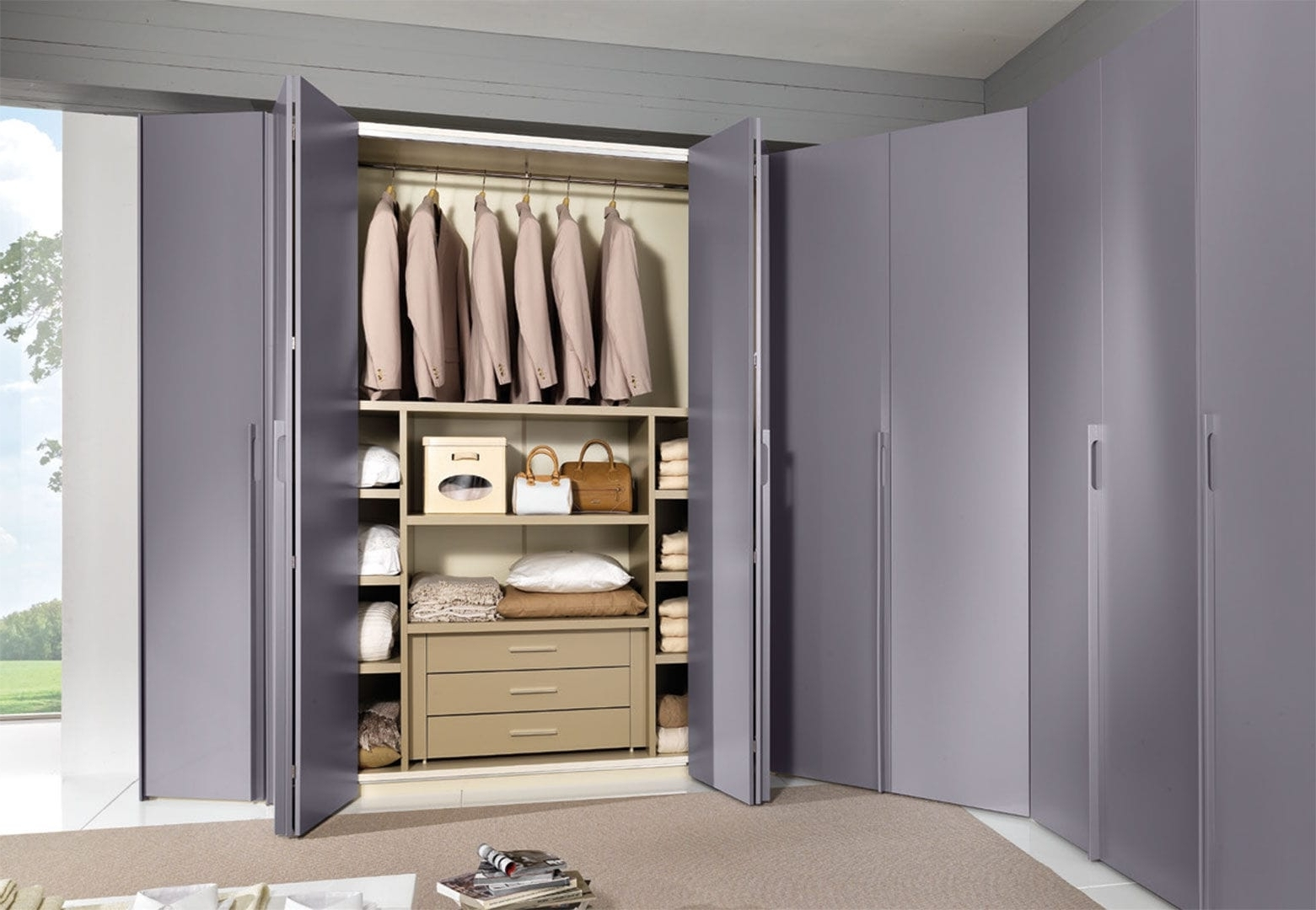 Folding Door Wardrobes With Well Liked Corner Wardrobe / Contemporary / Lacquered Wood / Folding Door (View 13 of 15)